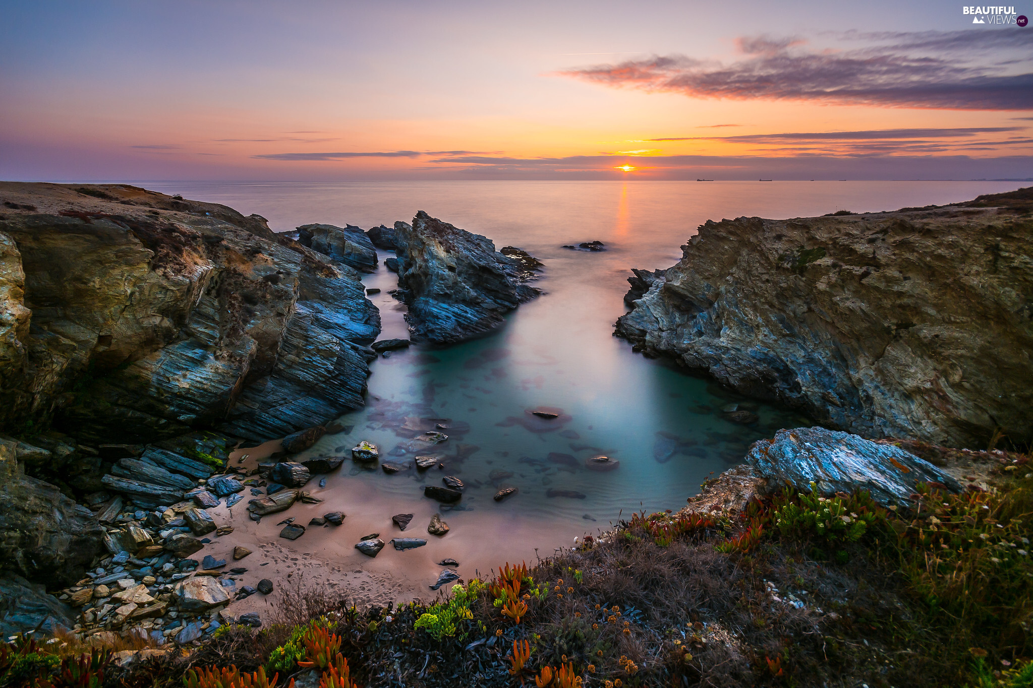 Great Sunsets, clouds, rocks, creek, sea