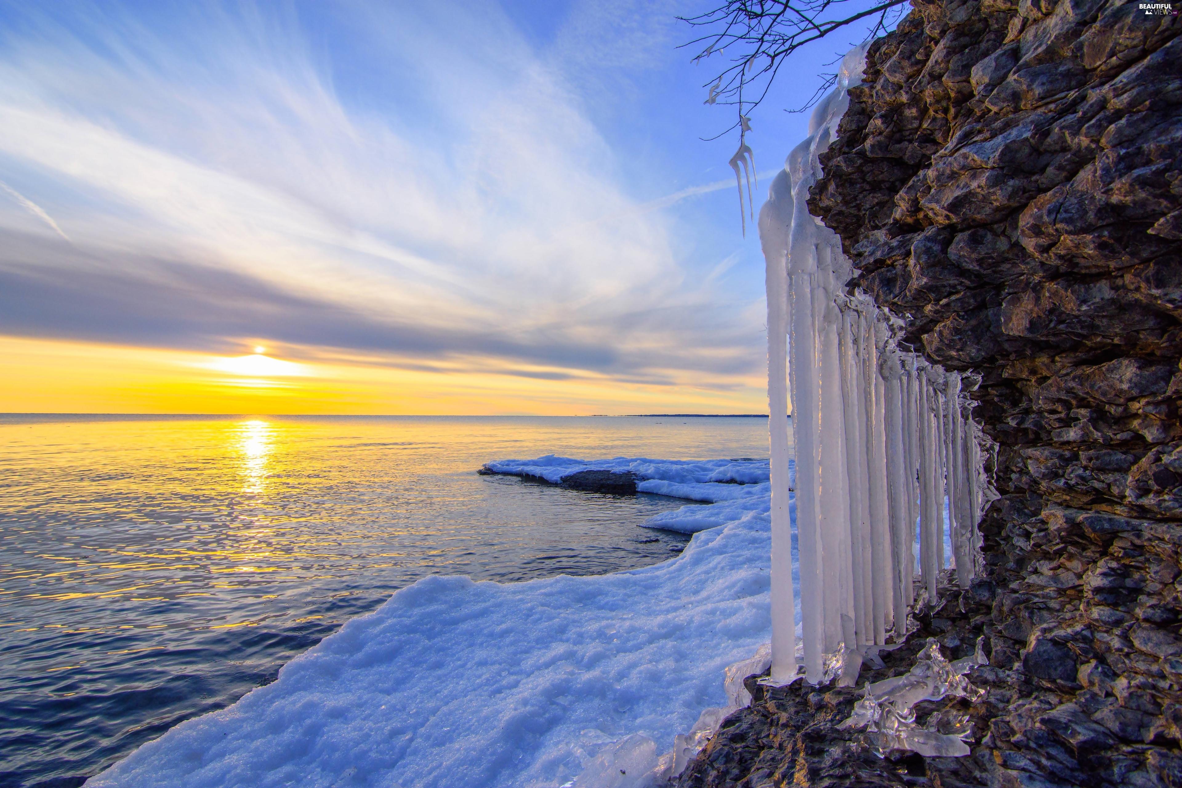 Icecream, sea, Rocks, Sunrise, icicle, winter - Beautiful ...