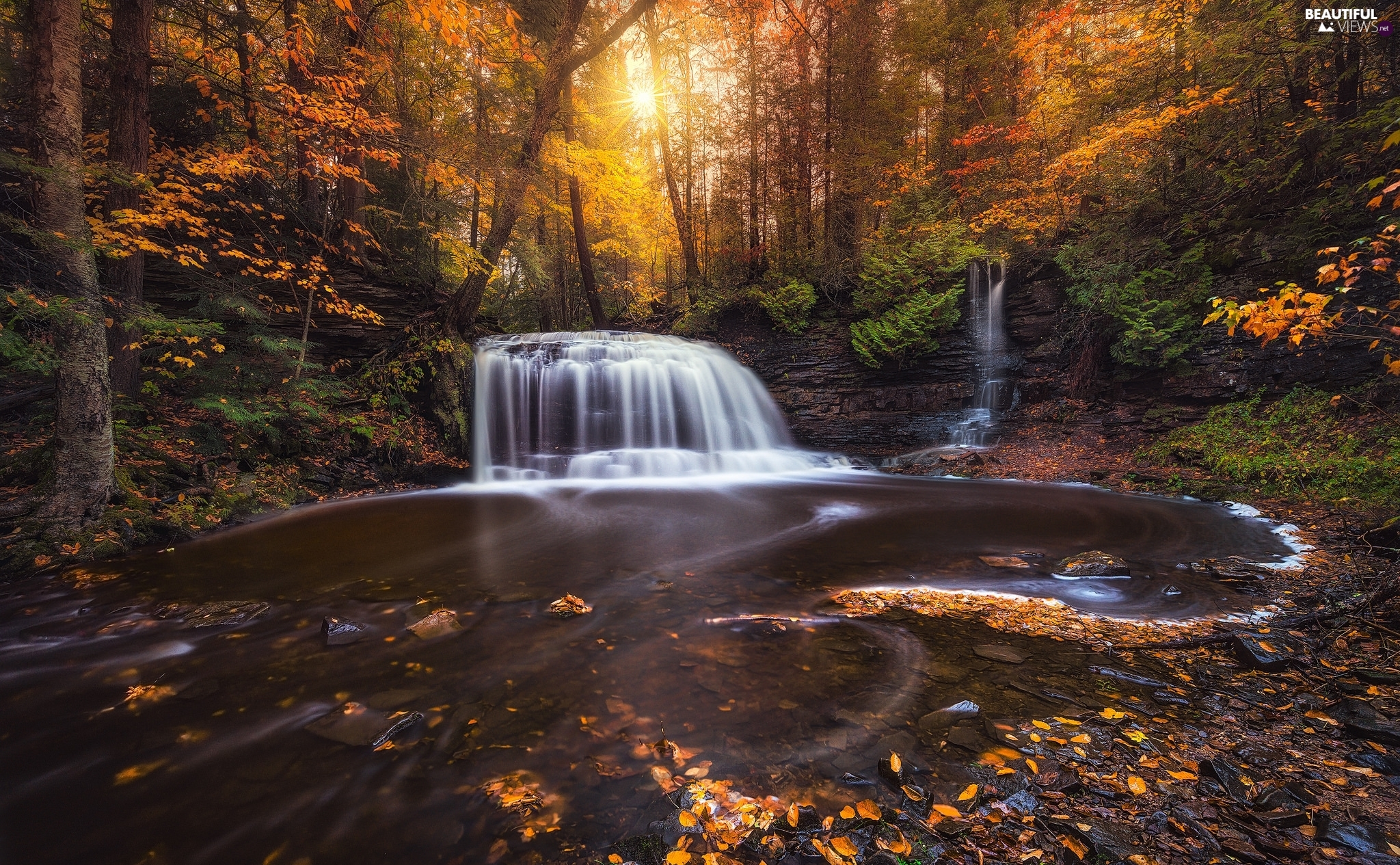 Rocks, autumn, Leaf, waterfall, forest, River, rays of the Sun