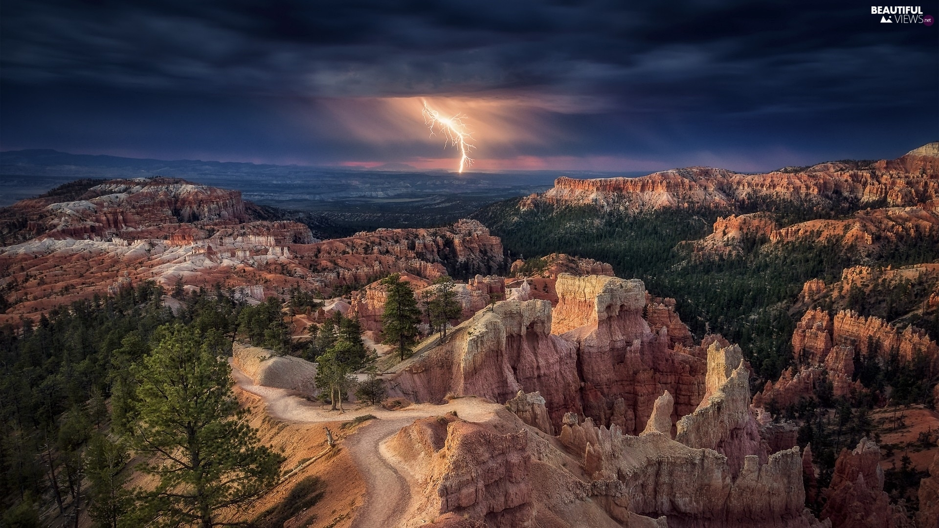 canyon, Utah State, Storm, Bryce Canyon National Park, The United States, lightning, rocks