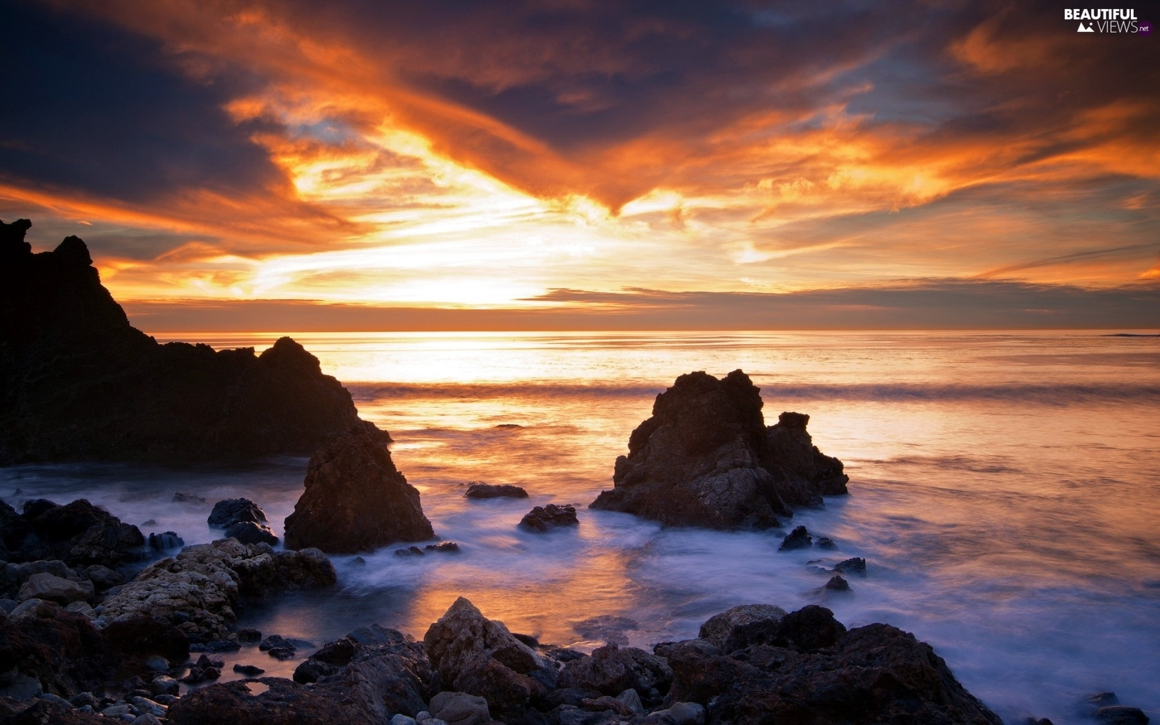 rocks, Great Sunsets, sea