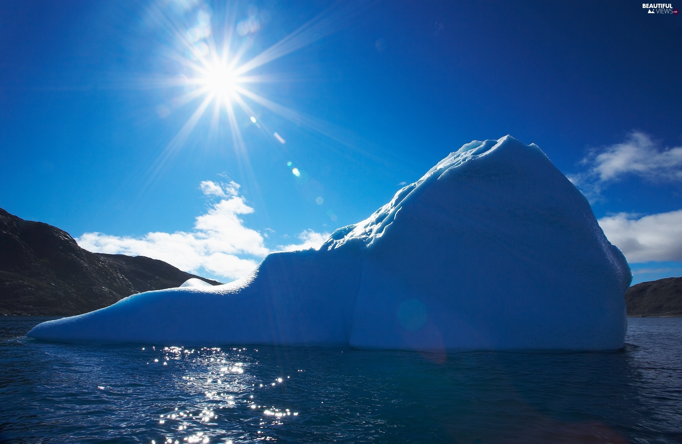 mountains, sun, sea, Ice