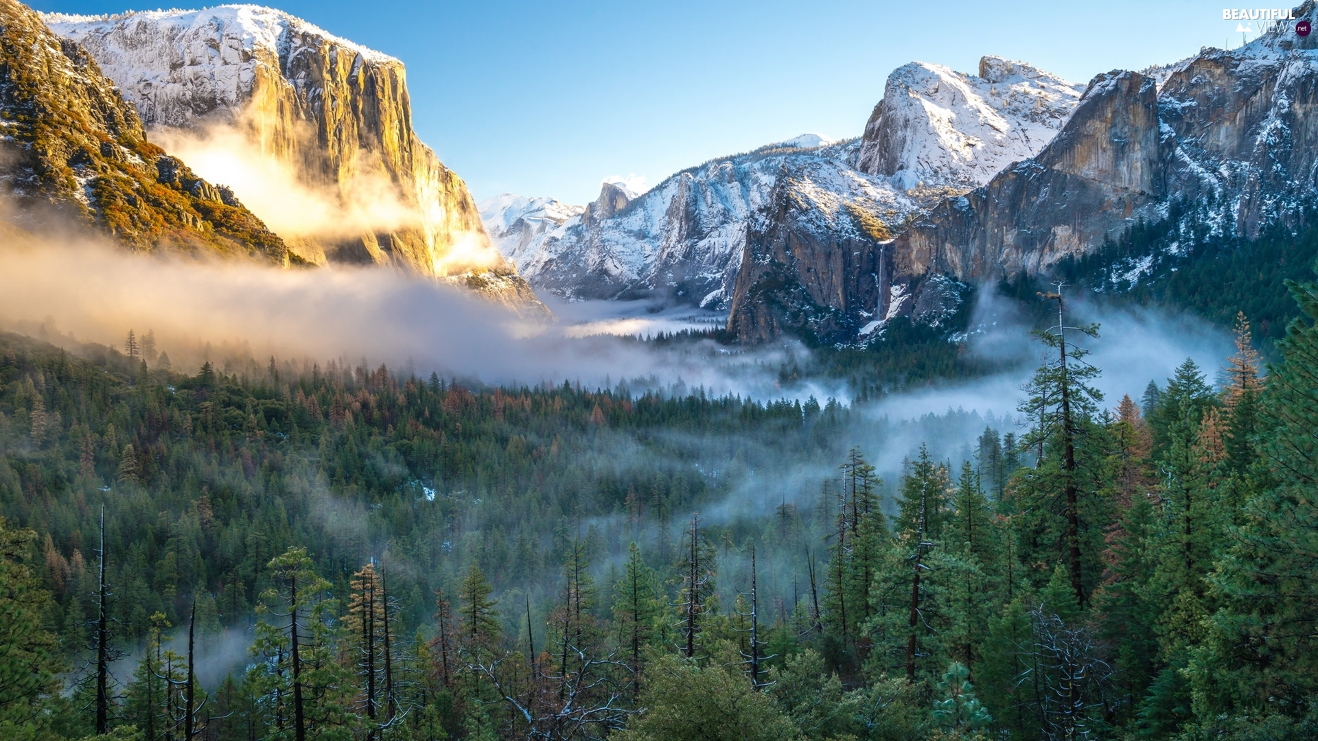 Yosemite National Park, The United States, Fog, clouds, Sierra Nevada Mountains, State of California