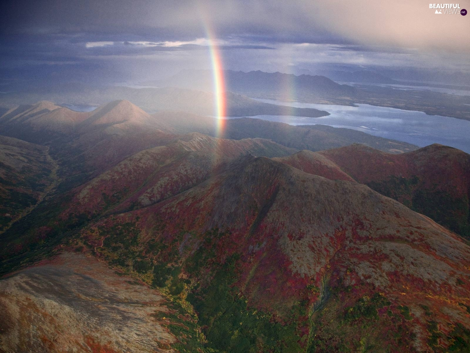 Great Rainbows, Mountains, Sky