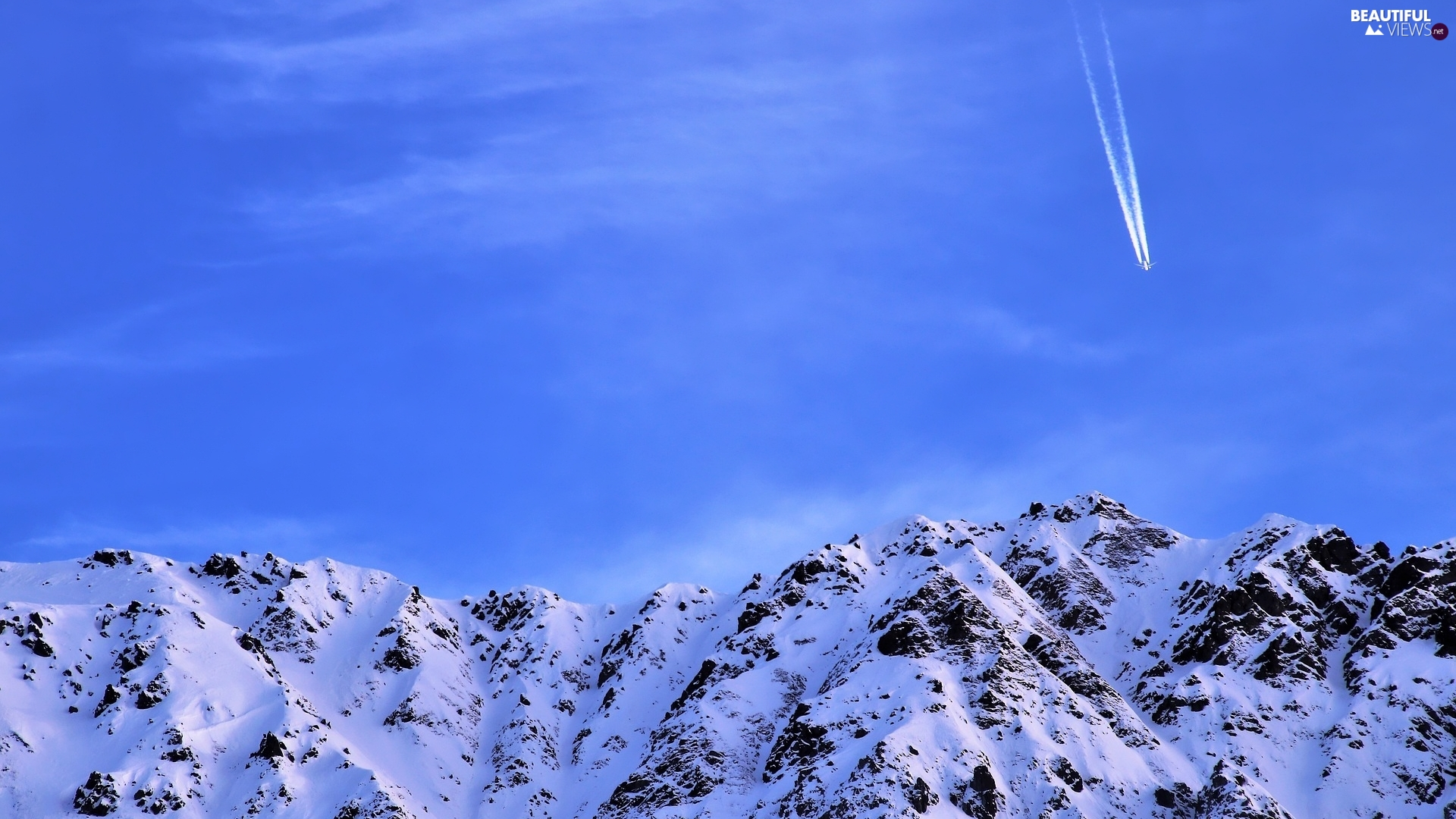 plane, Sky, winter, snow, Mountains