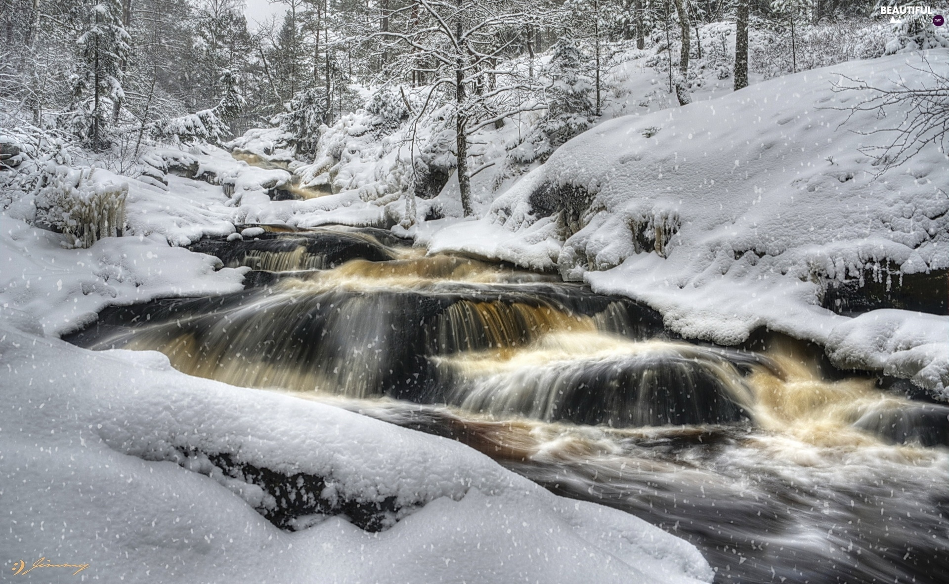 Cascades, forest, snow, winter, water, River