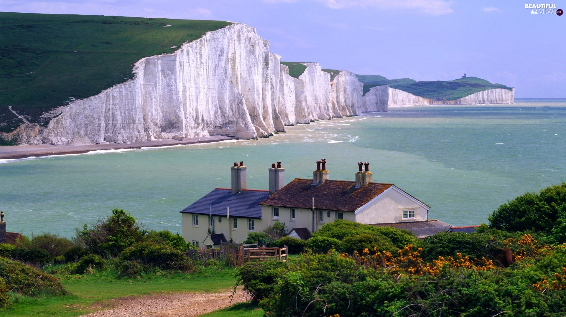 South, England, Cliffs, sea, Chalky