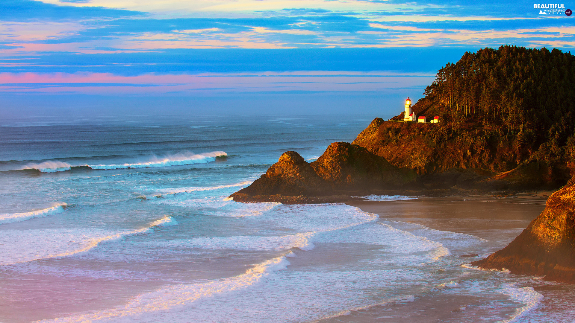Coast, The United States, Sky, Lighthouse Heceta Head, sea, State of Oregon