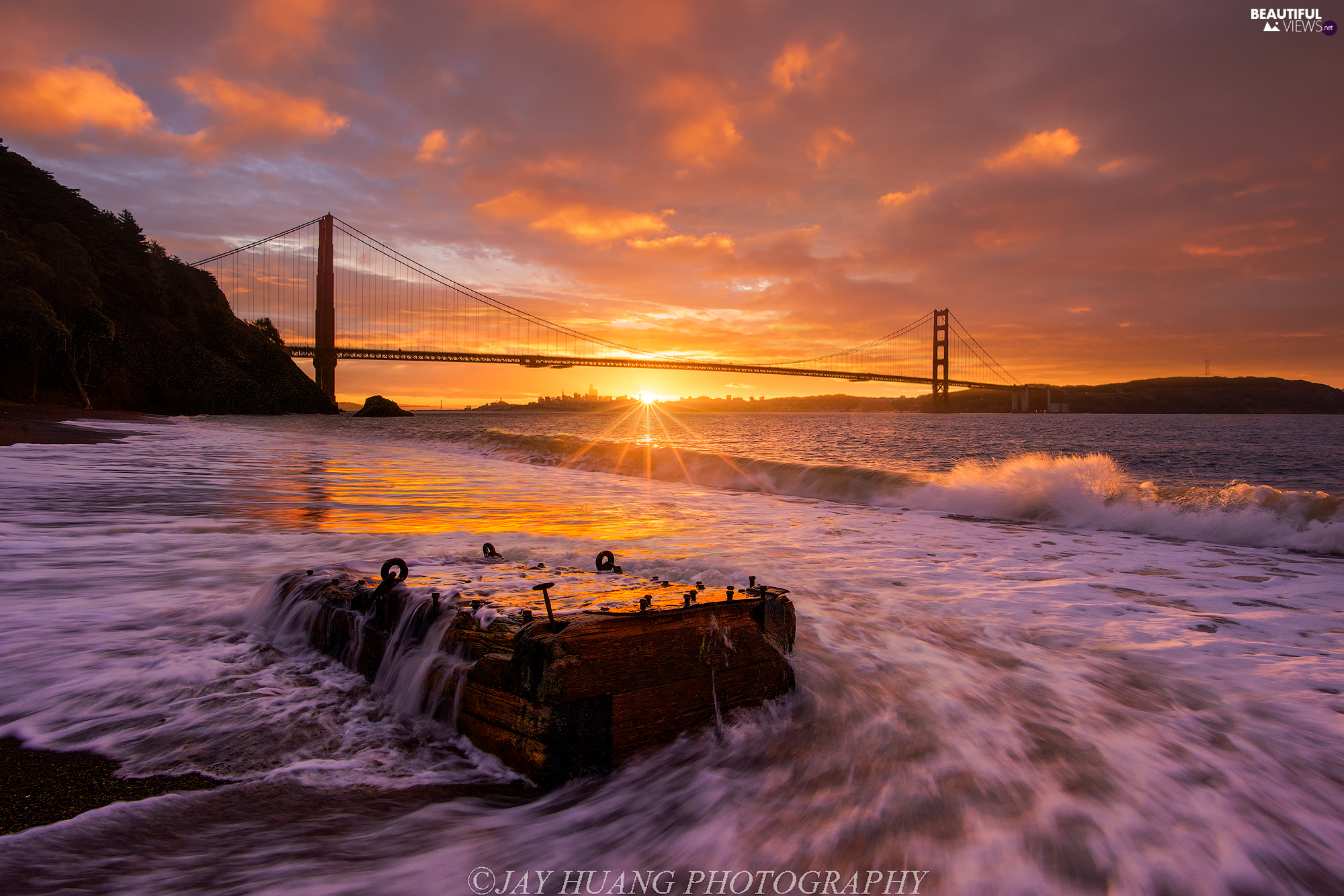 Most Golden Gate Bridge, The United States, Great Sunsets, clouds, Golden Gate Strait, State of California