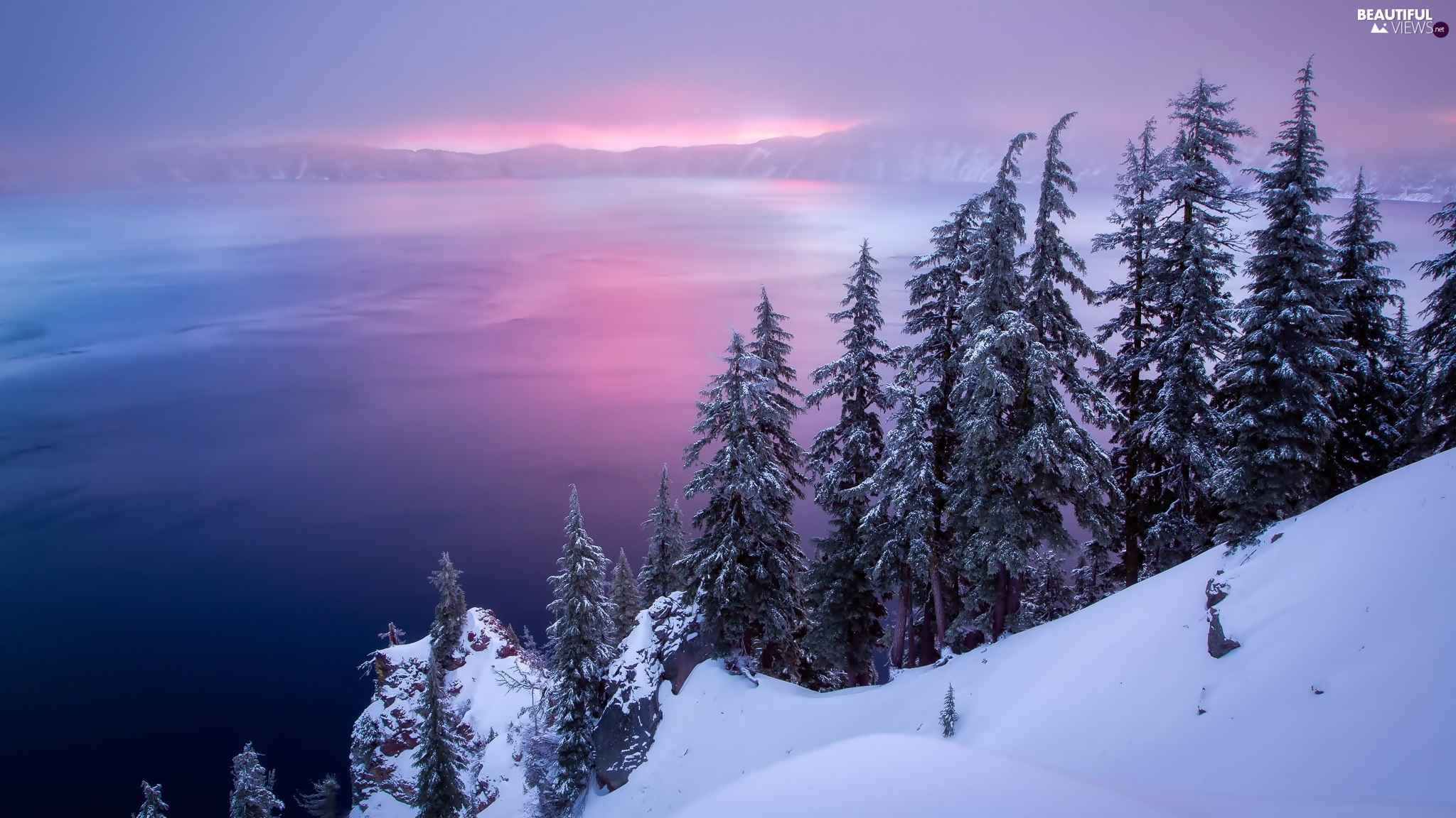 winter, Spruces, Oregon, Crater Lake, The United States