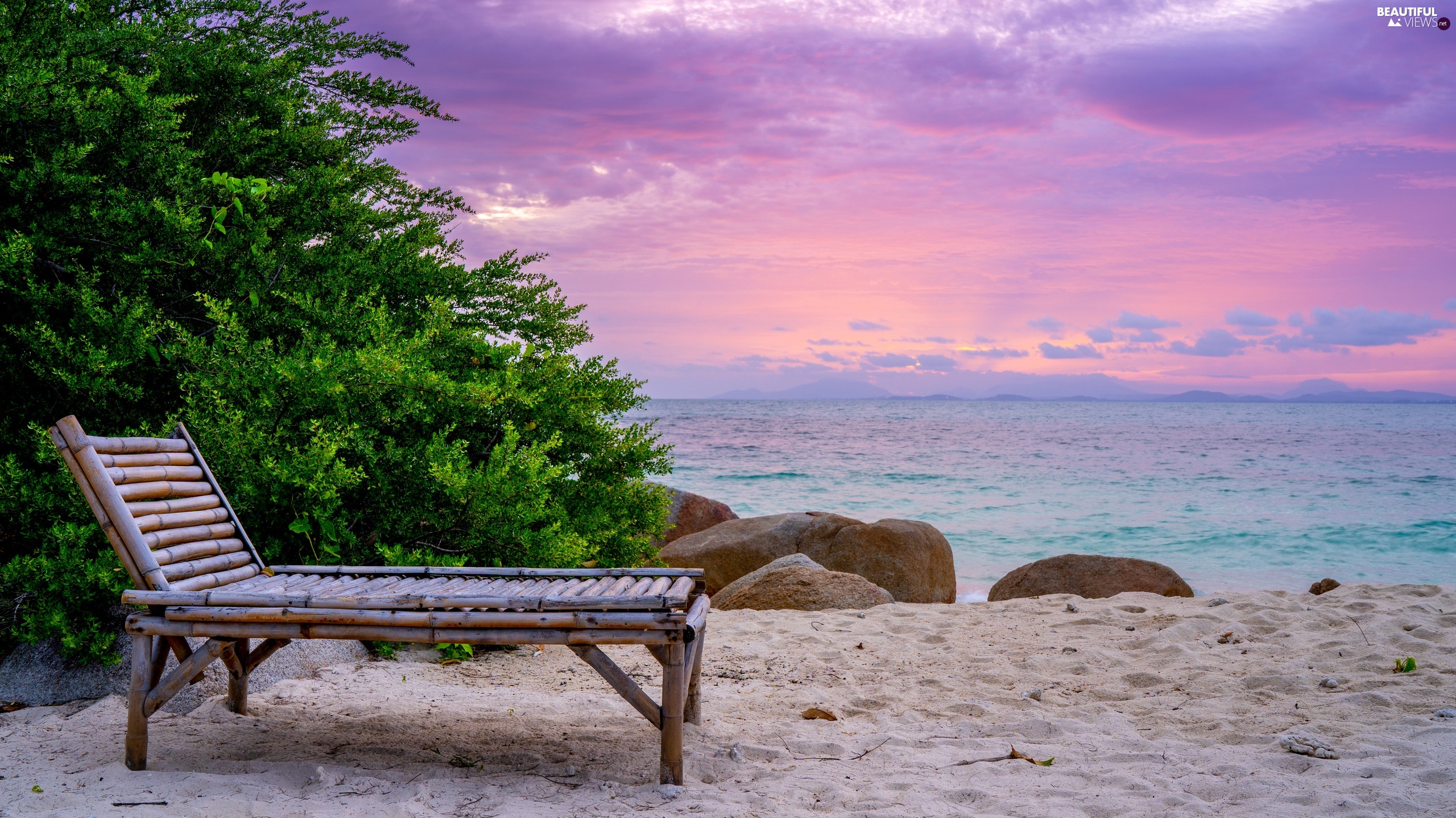 hammock chair, sea, Stones, Sunrise, Bush, Beaches