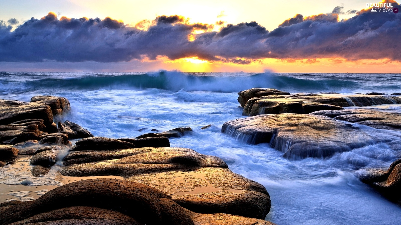 Sky, Waves, Stones, clouds
