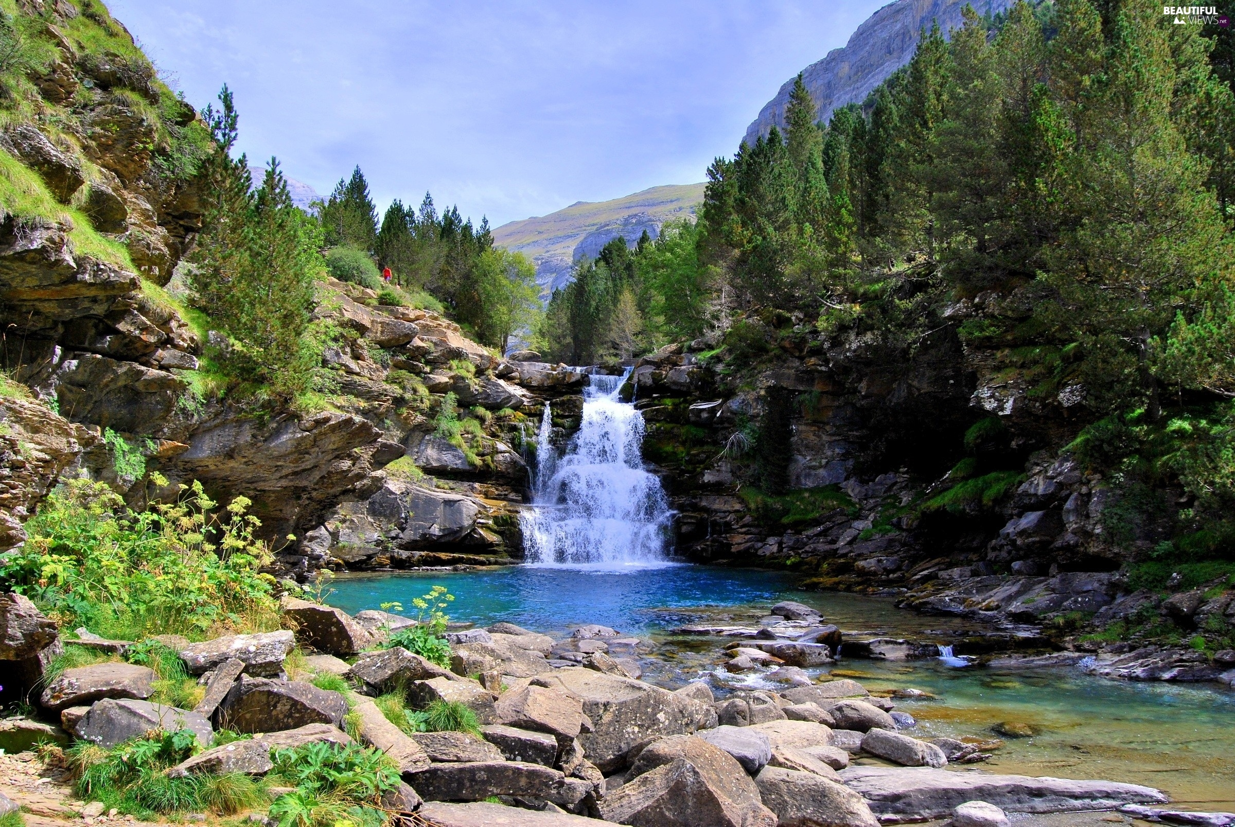 waterfall, rocks, trees, River, Mountains, Stones, viewes