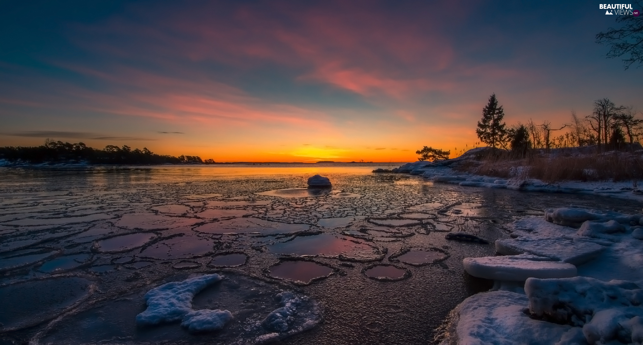 Finland, Kallahti Cape, winter, Gulf, viewes, Sunrise, Icecream, trees, Baltic Sea