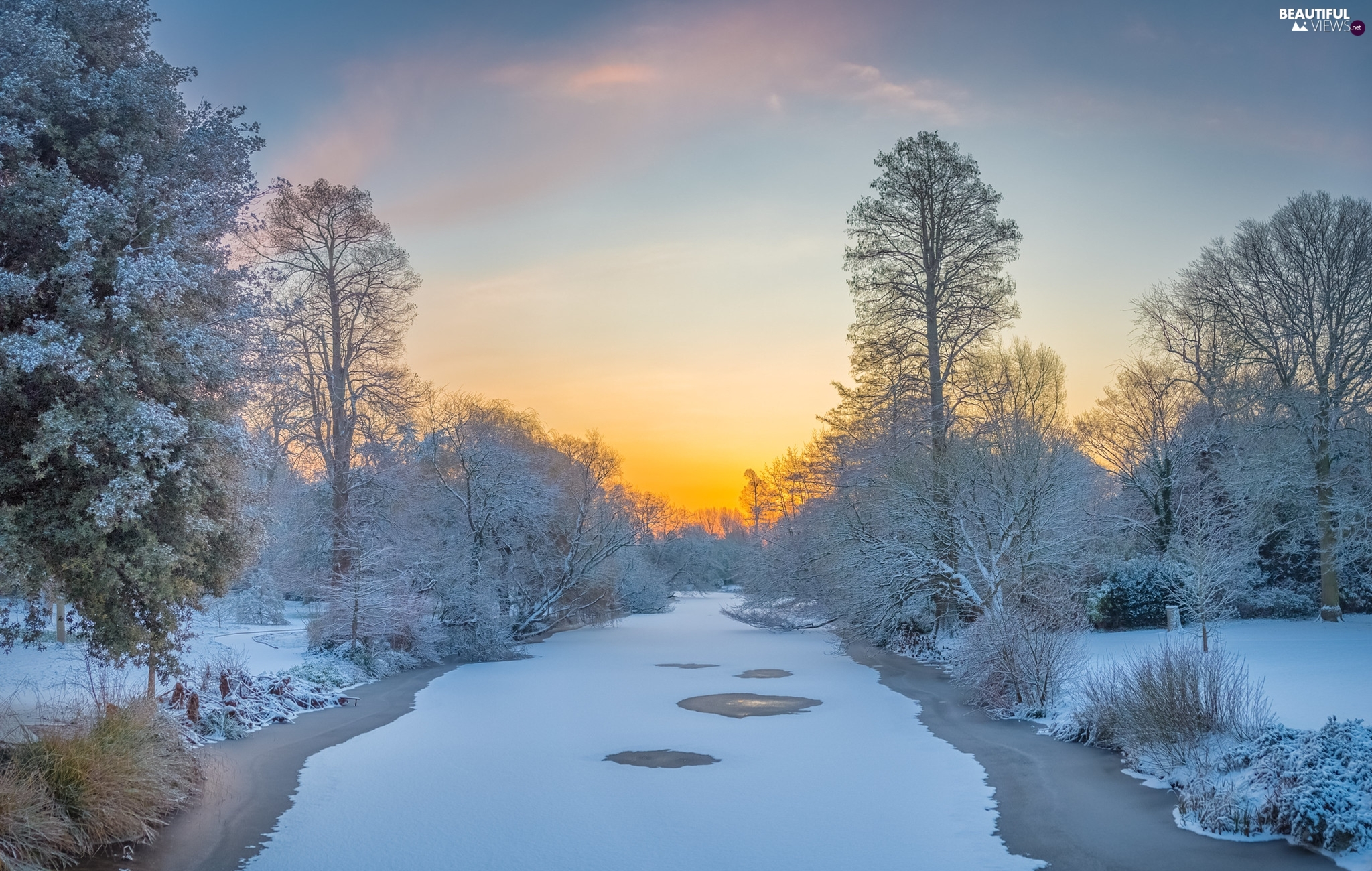 trees, winter, Bush, Sunrise, viewes, River