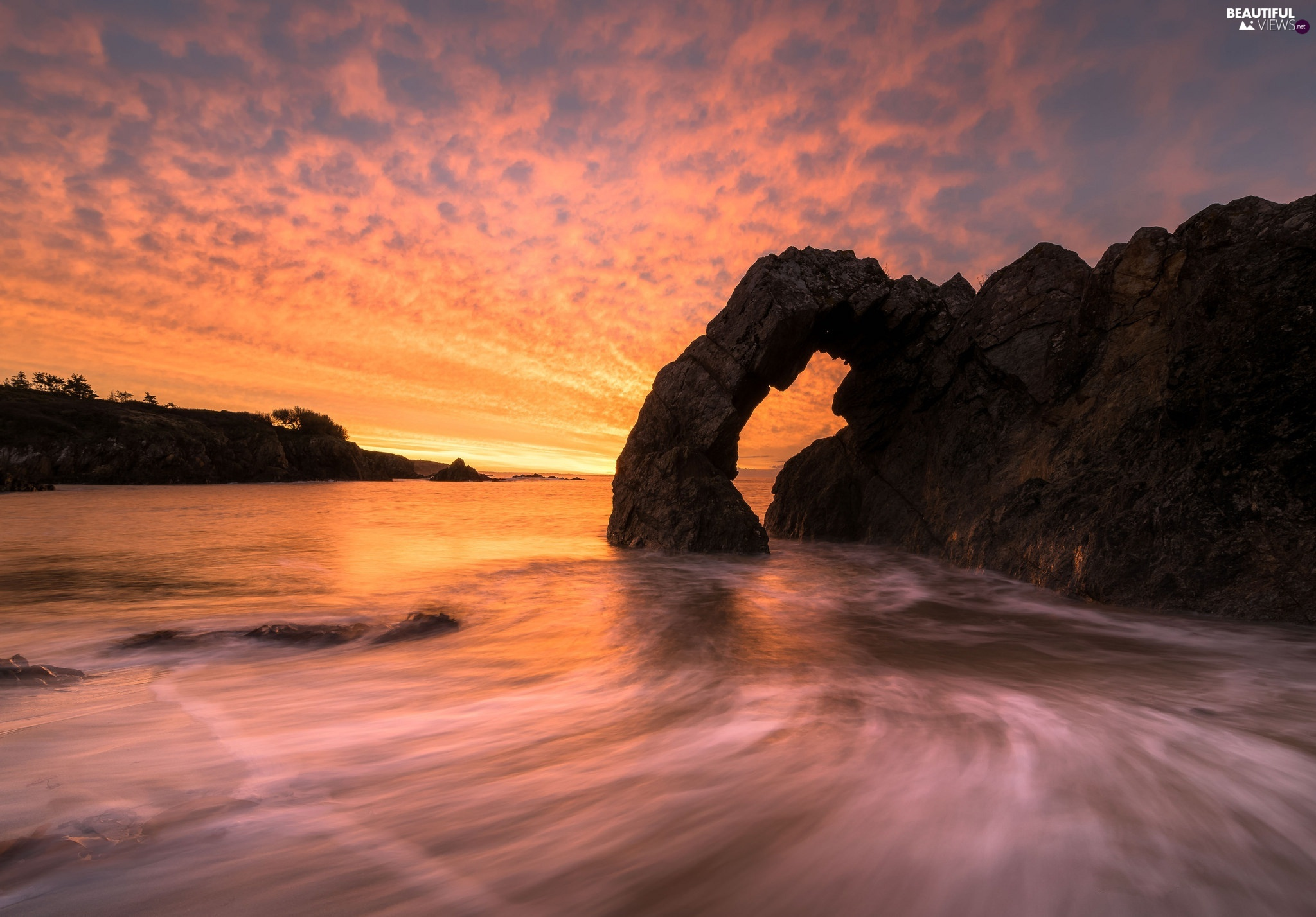 sea, rocks, Great Sunsets, Rock Arch