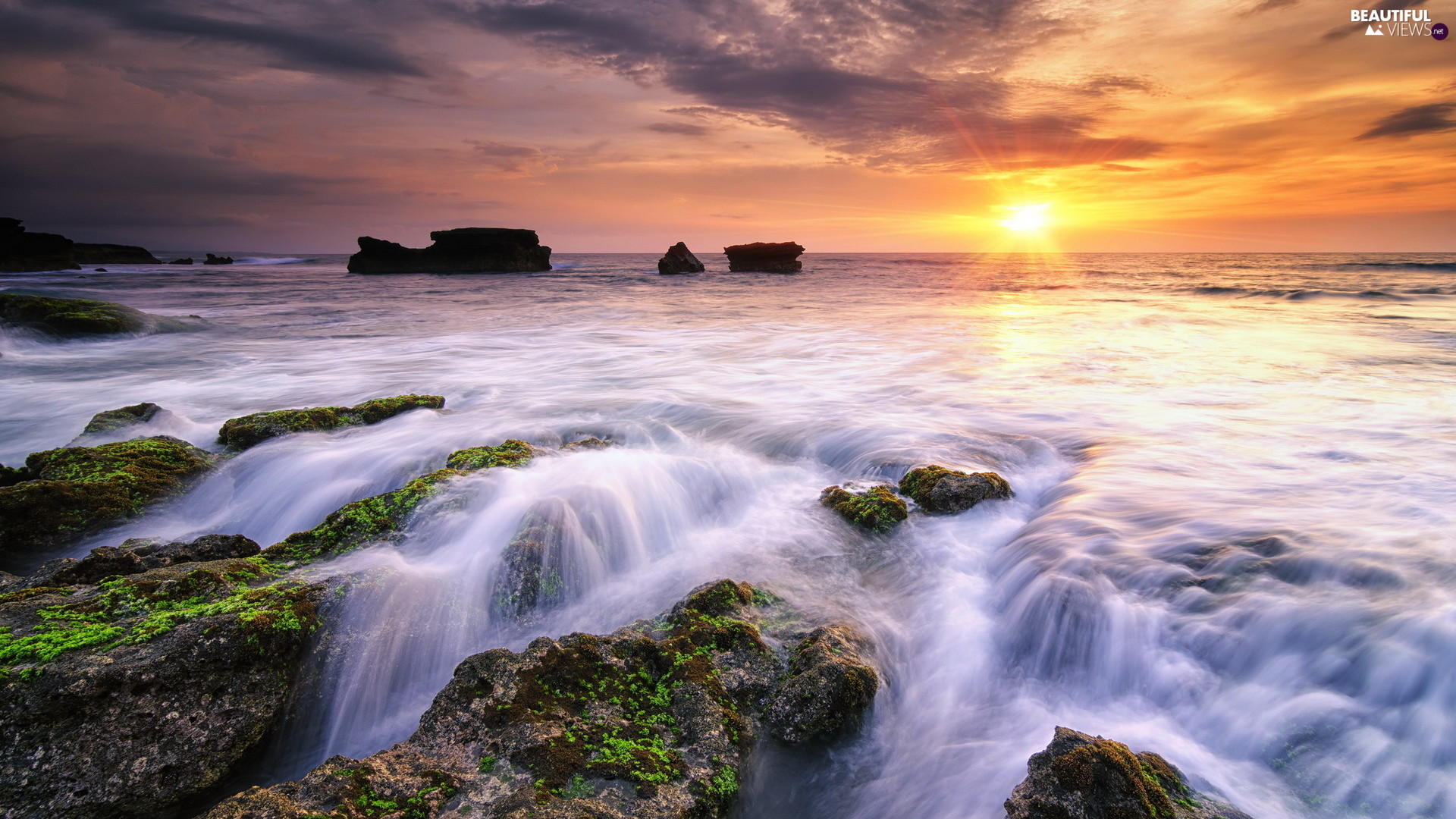 sea, indonesia, Great Sunsets, clouds, rocks, Bali Island