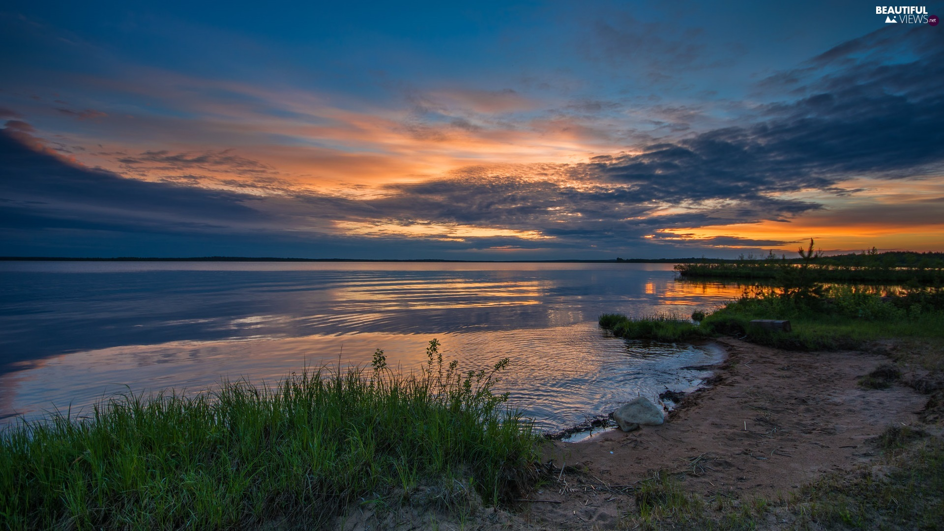 coast, grass, Great Sunsets, clouds, lake
