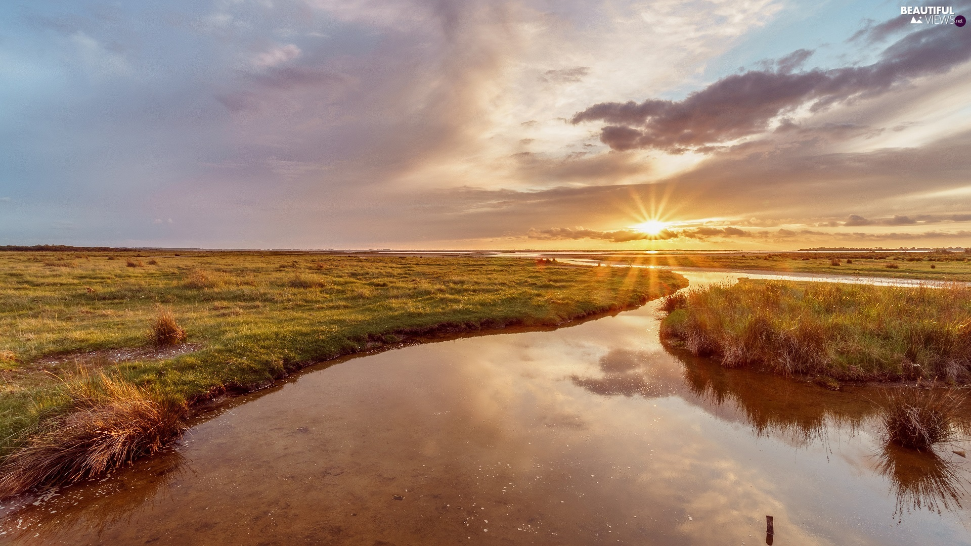 Great Sunsets, Meadow, River, rays