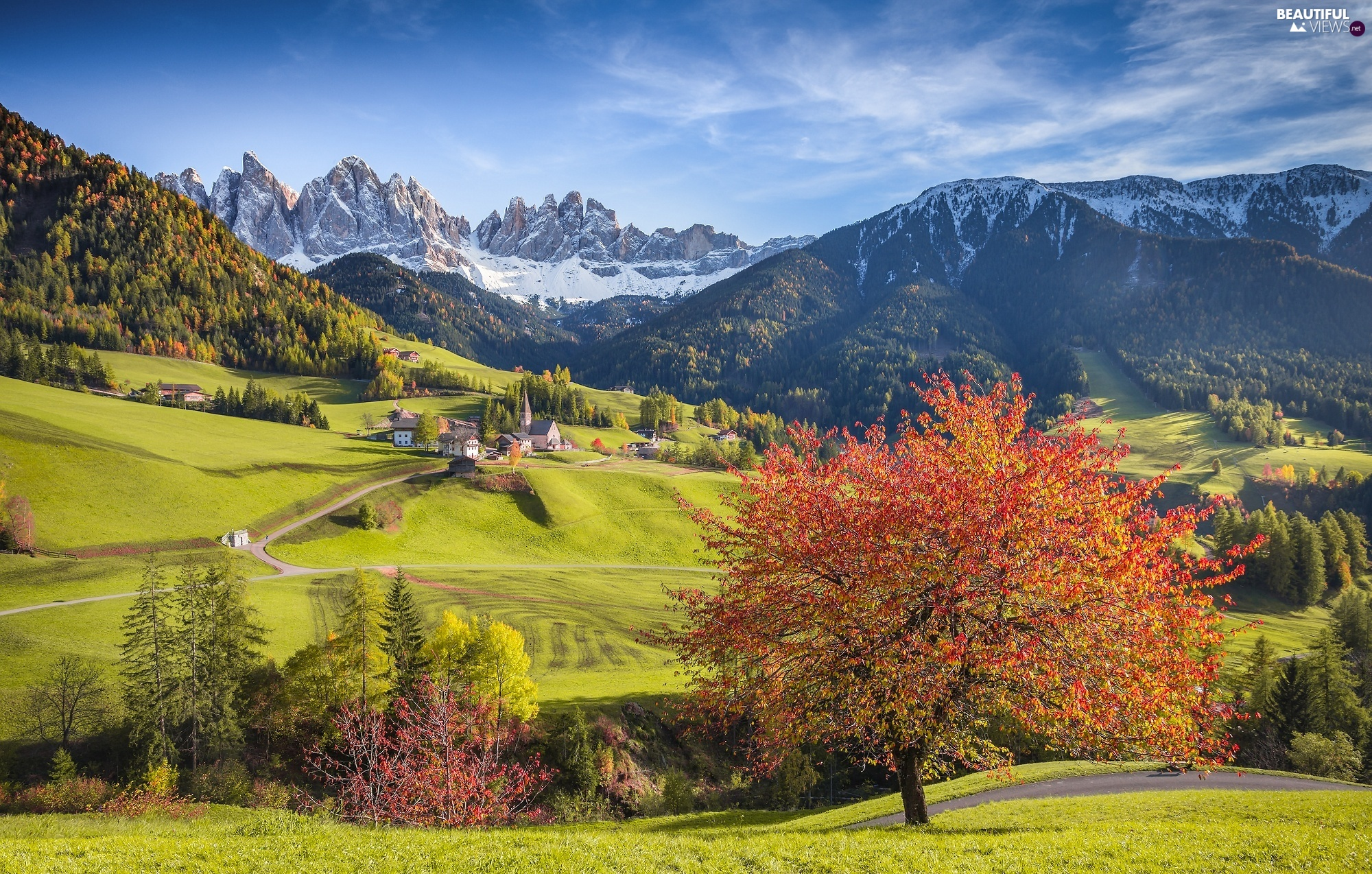 Val di Funes Valley, Dolomites Mountains, Houses, The Hills, viewes, Santa Maddalena, Italy, trees