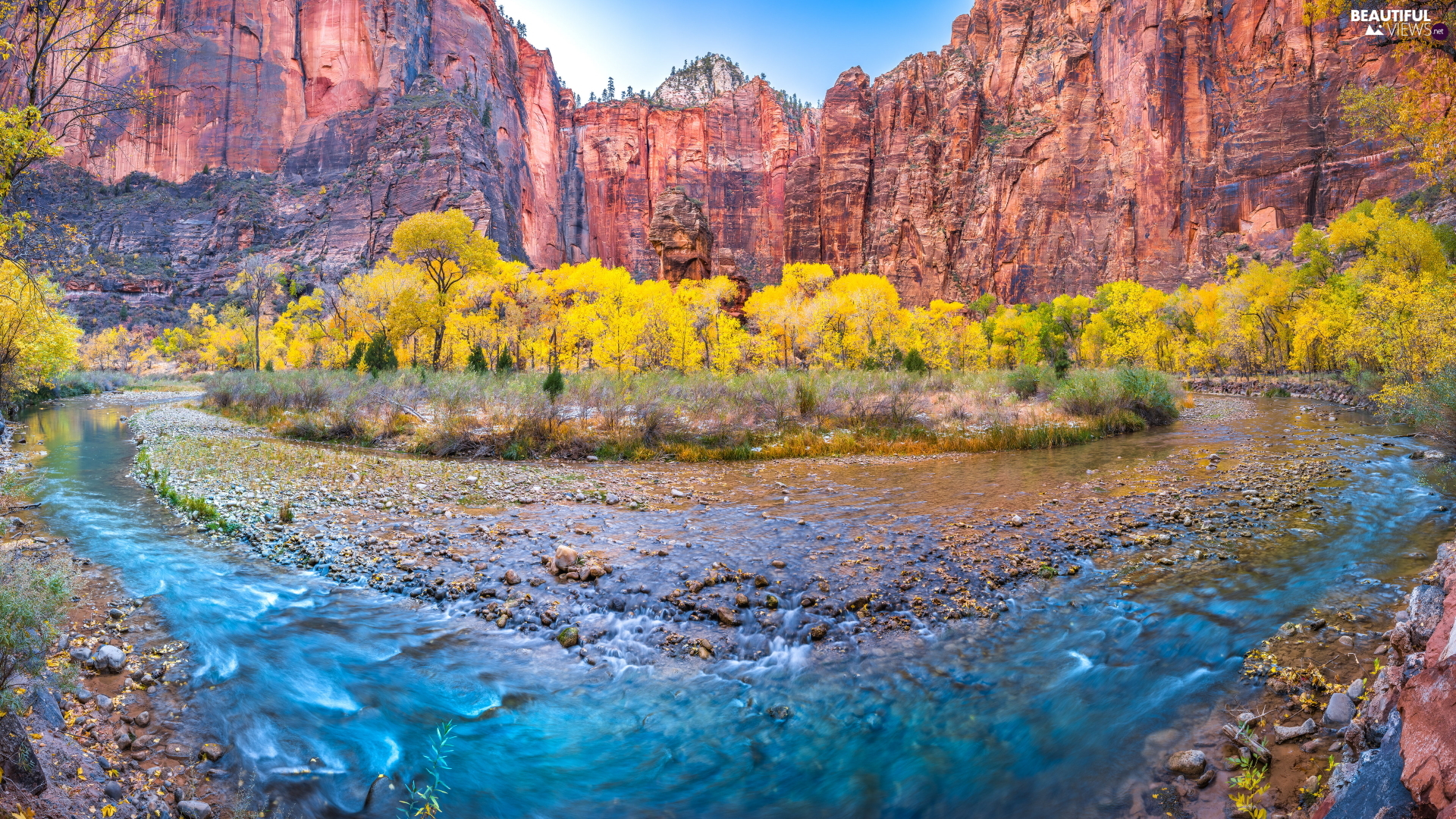 viewes, rocks, Utah State, trees, Zion National Park, River, The United States