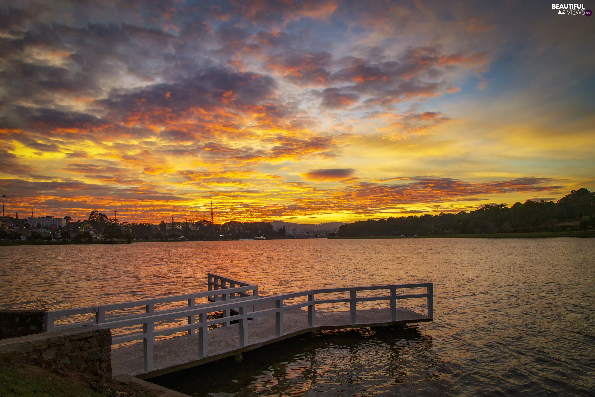 clouds, lake, viewes, Great Sunsets, Platform, trees, Town