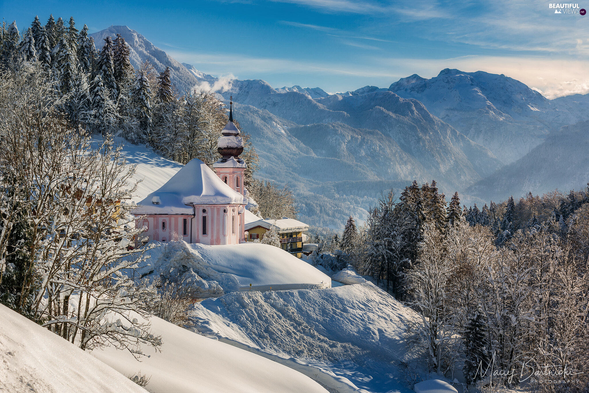 Sanctuary of Maria Gern, Salzburg Slate Alps, trees, Bavaria, viewes, Mountains, Church, Germany, Berchtesgaden, winter