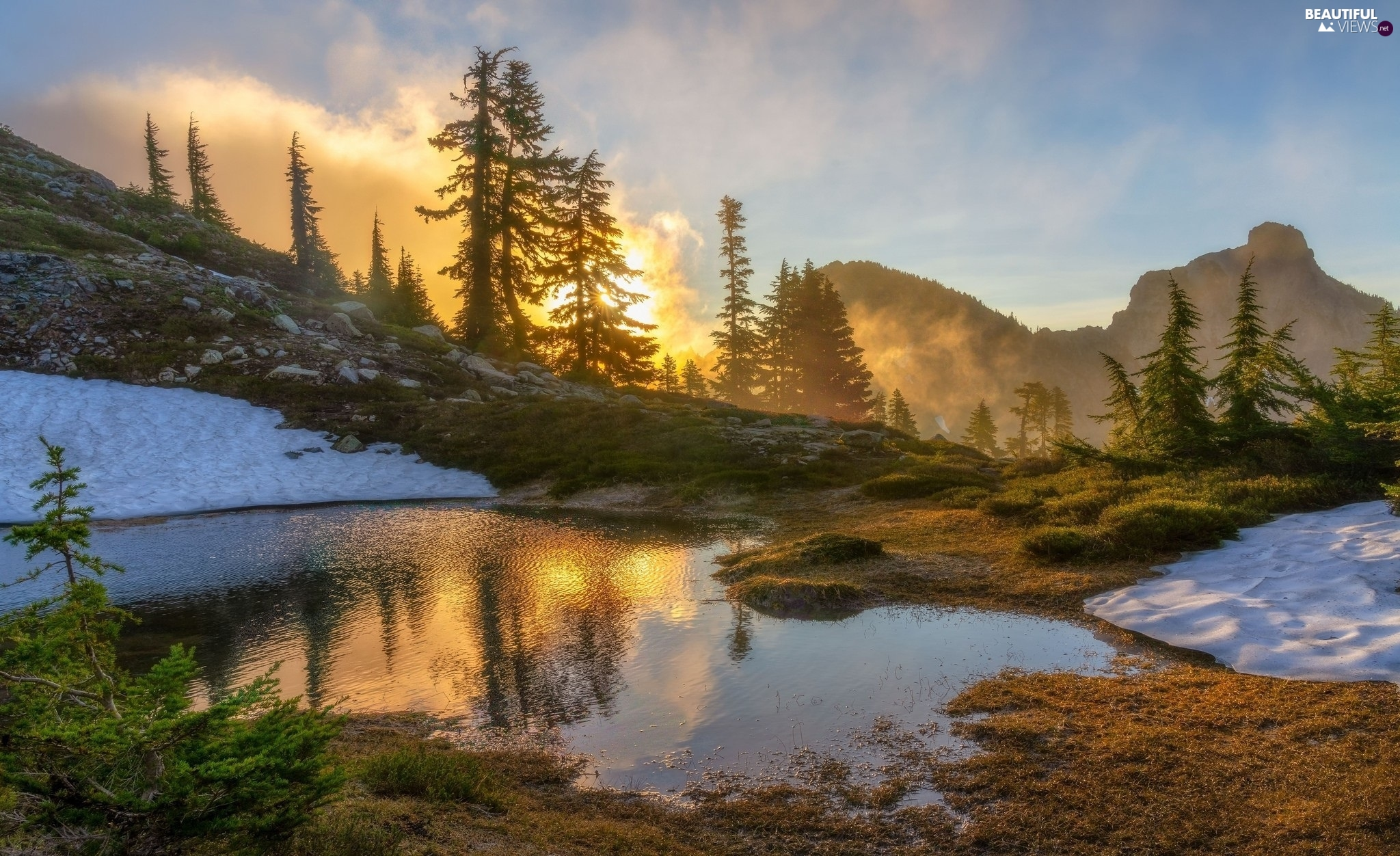 viewes, lake, clouds, trees, Mountains, Sunrise, Fog