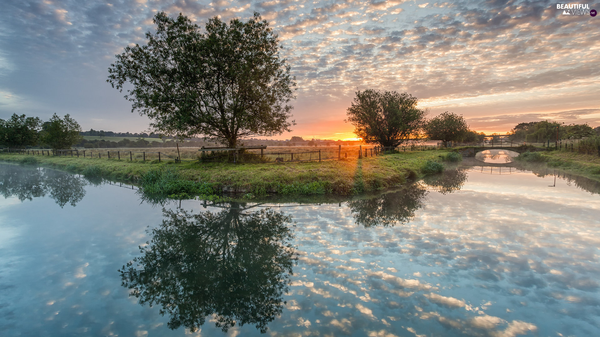 trees, River, clouds, reflection, viewes, Great Sunsets