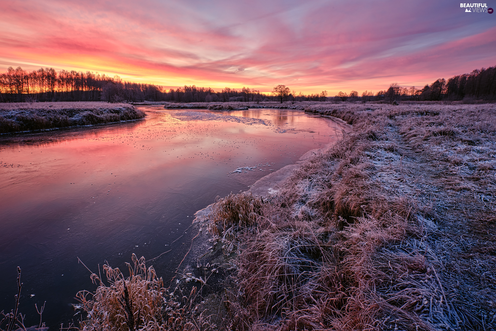 White frost, Sunrise, trees, viewes, River