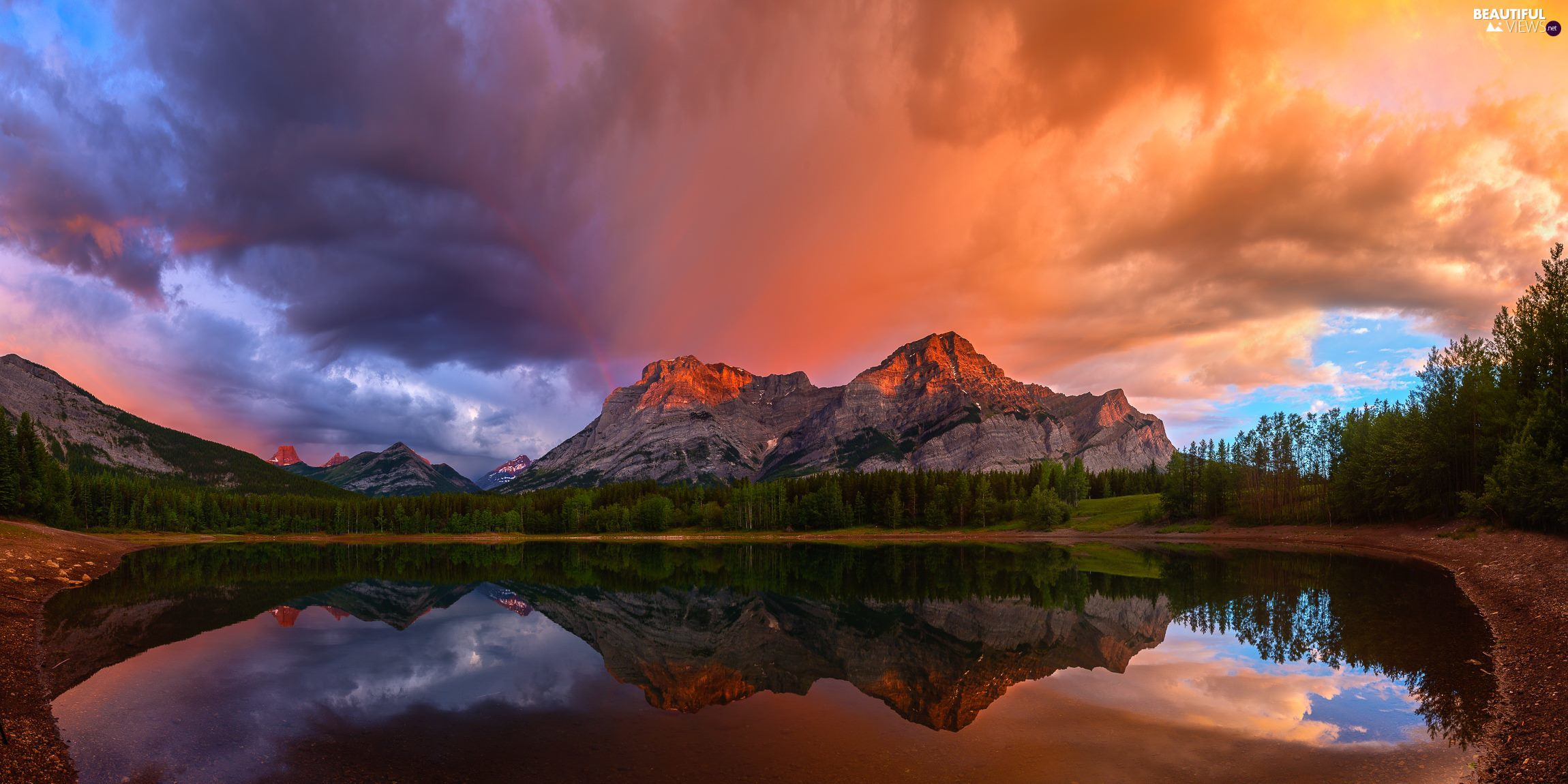 clouds, lake, viewes, Great Sunsets, Mountains, trees, reflection