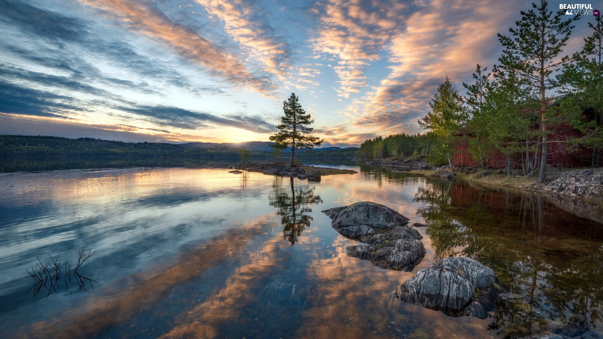 trees, lake, viewes, Stones, Ringerike, Norway, clouds, Great Sunsets, Sky