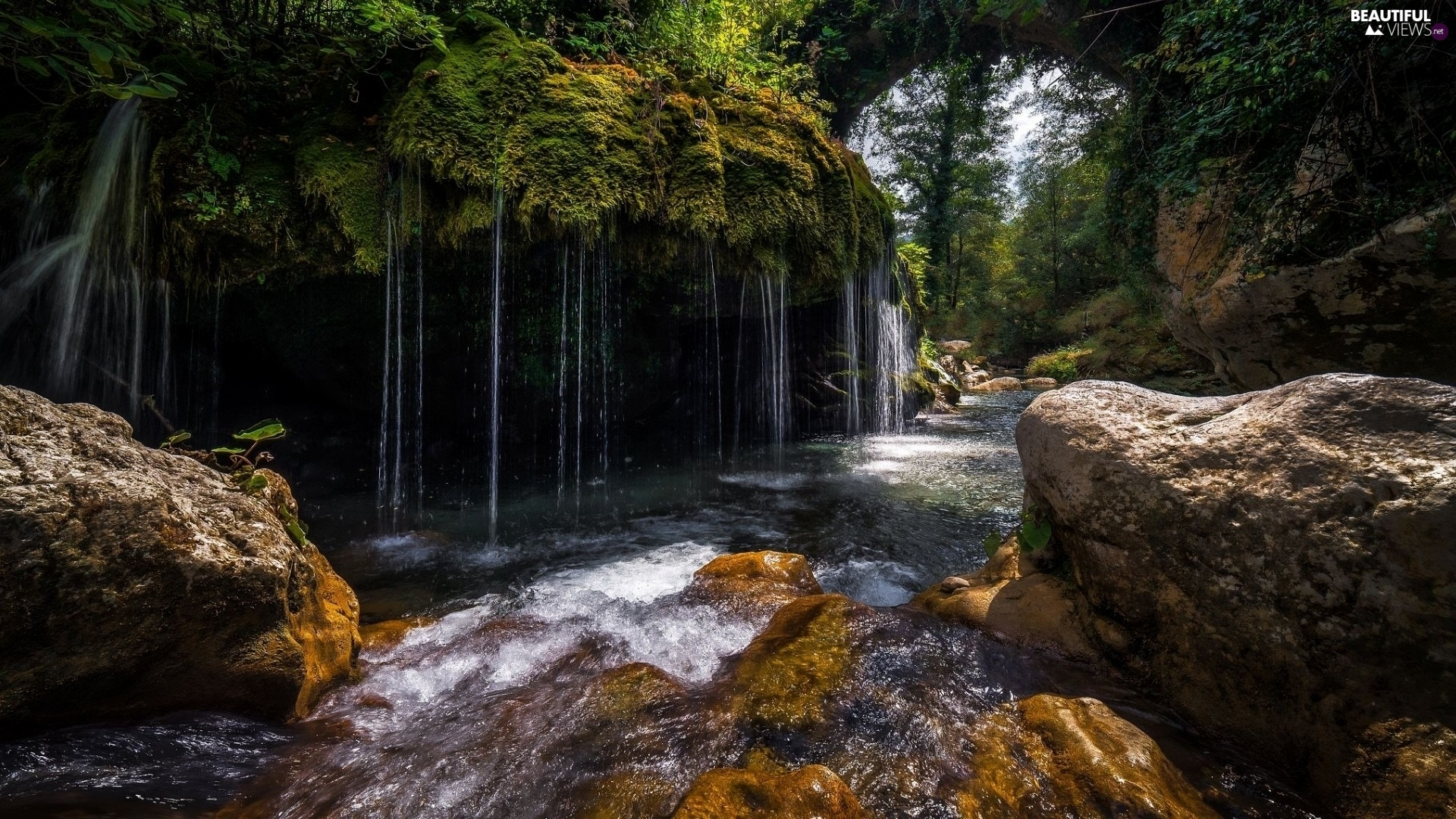 rocks, trees, waterfall, viewes, Moss, Stones, River, VEGETATION