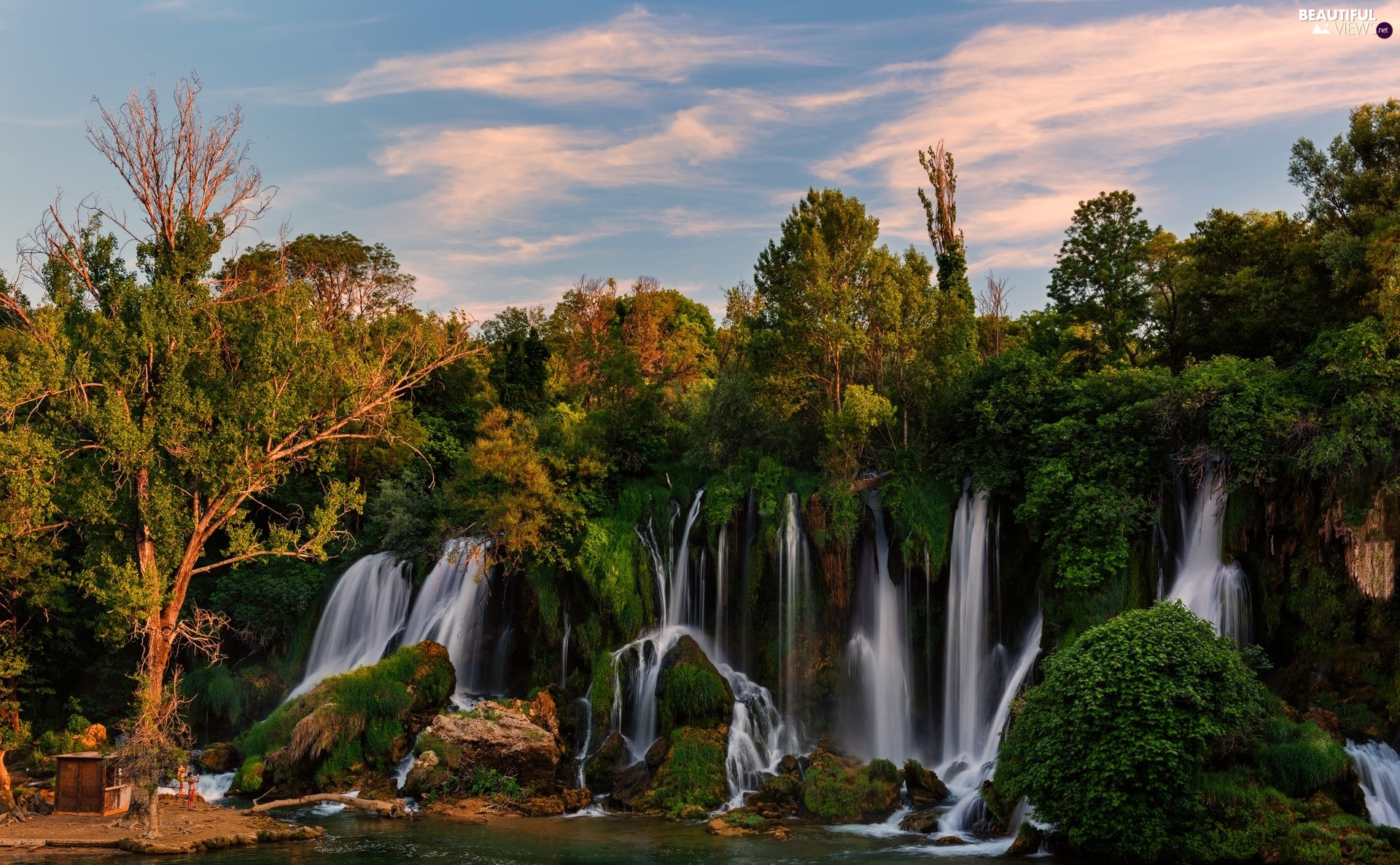 viewes, River, rocks, trees, Kravica Waterfalls, VEGETATION, Bosnia and Herzegovina