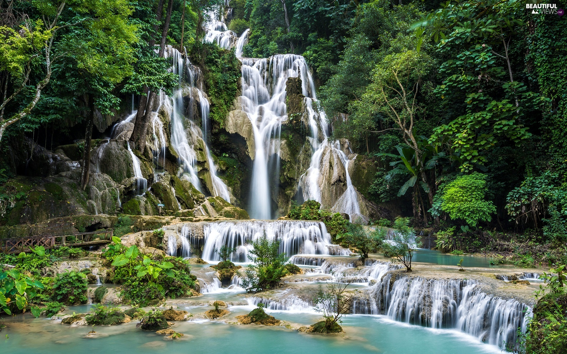 viewes, Kuang Si Waterfall, Province of Louangphrabang, Laos, cascade, trees