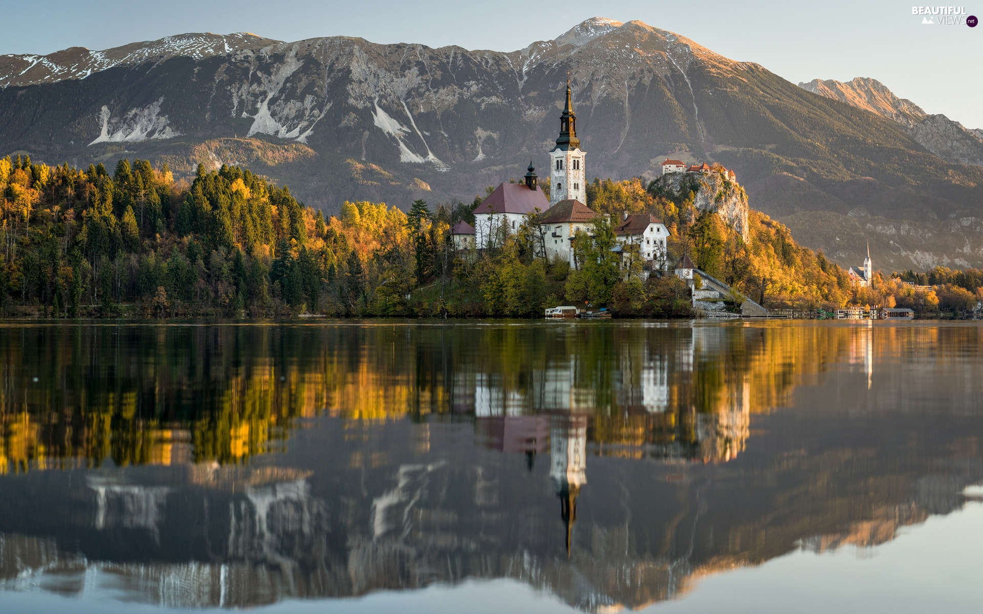 Mountains, autumn, Lake Bled, Island, viewes, Slovenia, reflection, trees, Church of the Assumption of the Blessed Virgin Mary