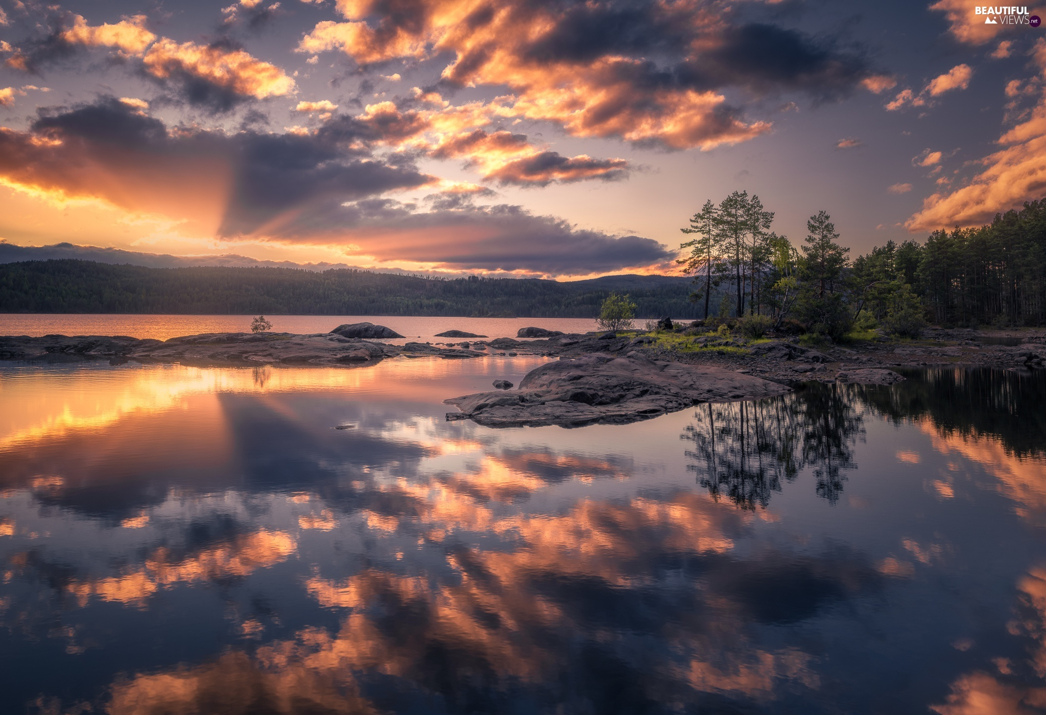 Great Sunsets, lake, viewes, rocks, trees, clouds