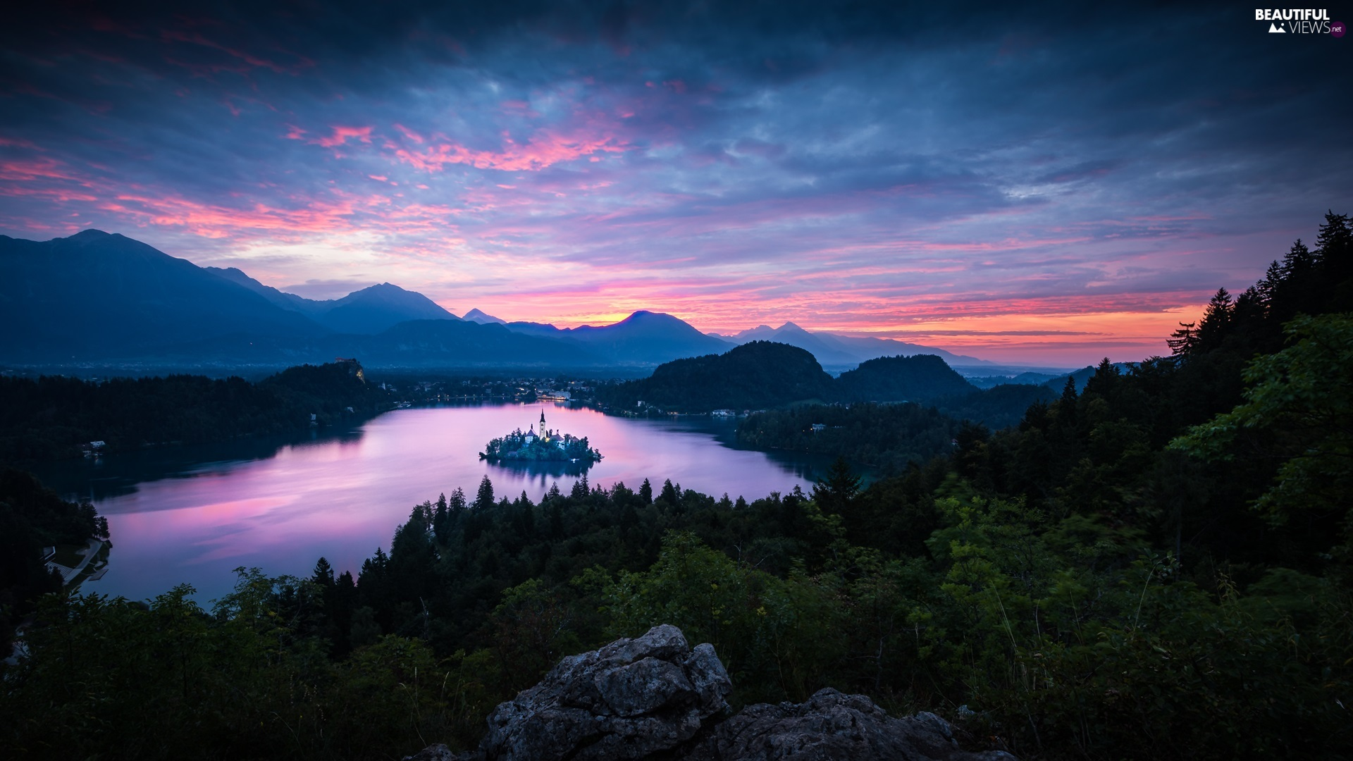 Lake Bled, Blejski Otok Island, Church of the Assumption of the Virgin Mary, Mountains, Sunrise, Slovenia, viewes, clouds, trees