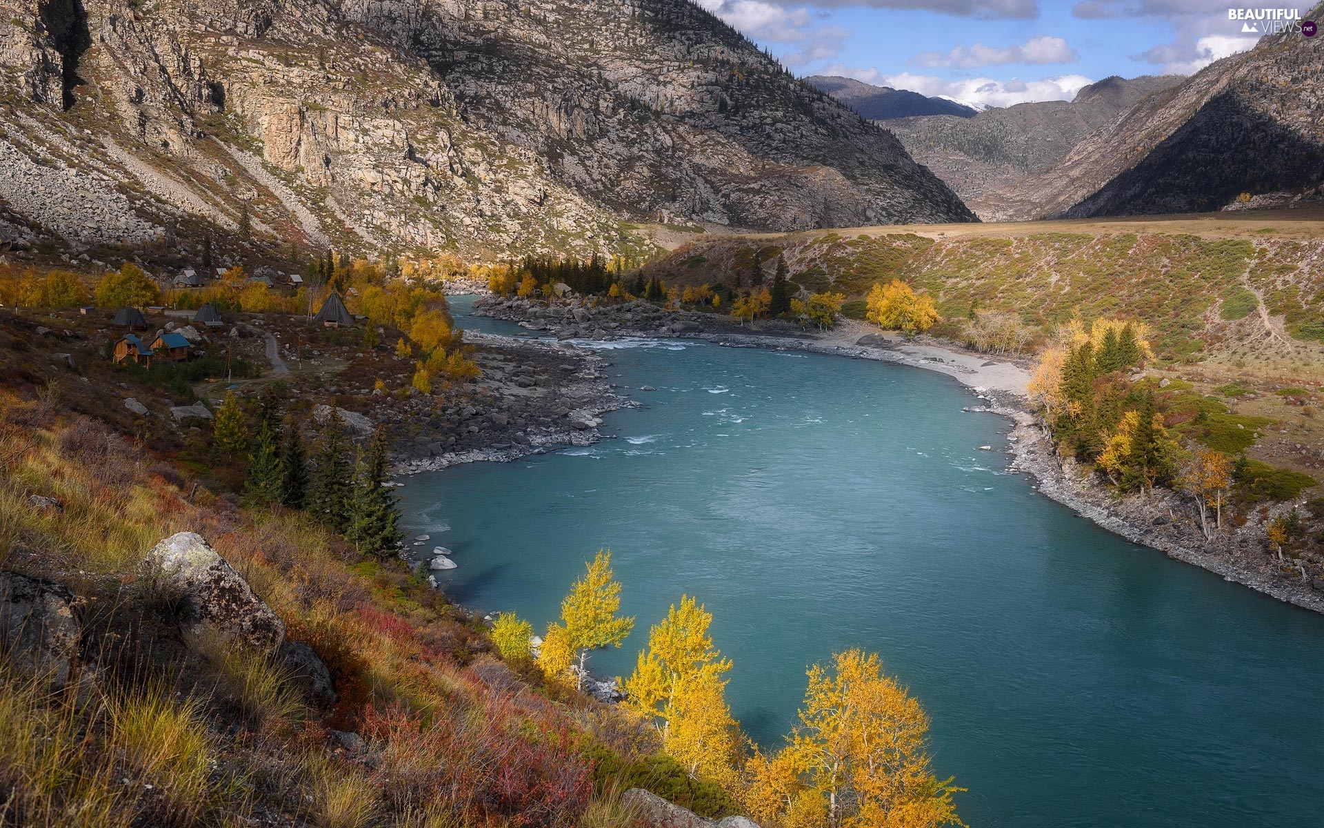 River, autumn, trees, viewes, Plants, Mountains
