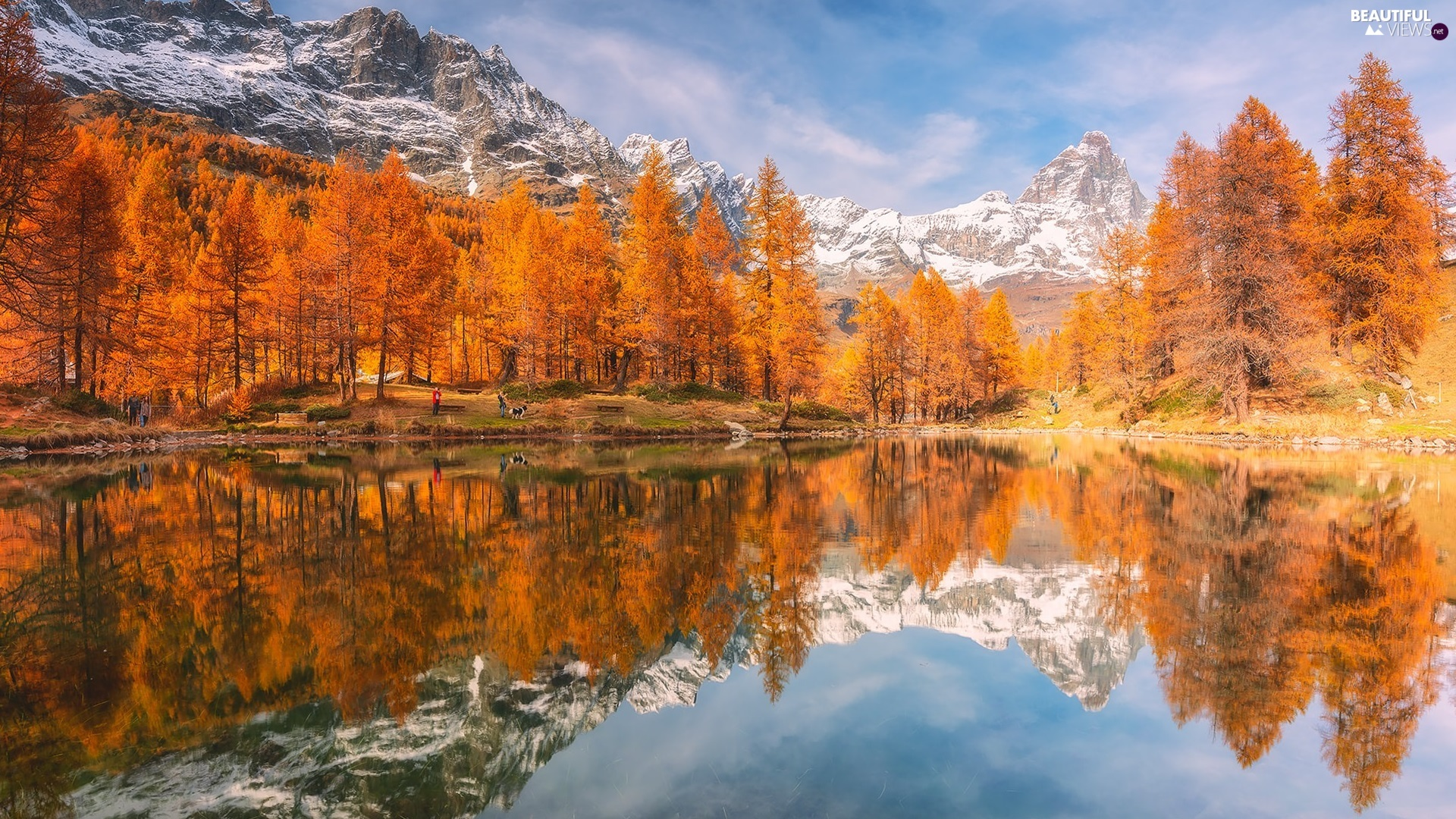peaks, lake, reflection, trees, autumn, Snowy, Mountains, viewes