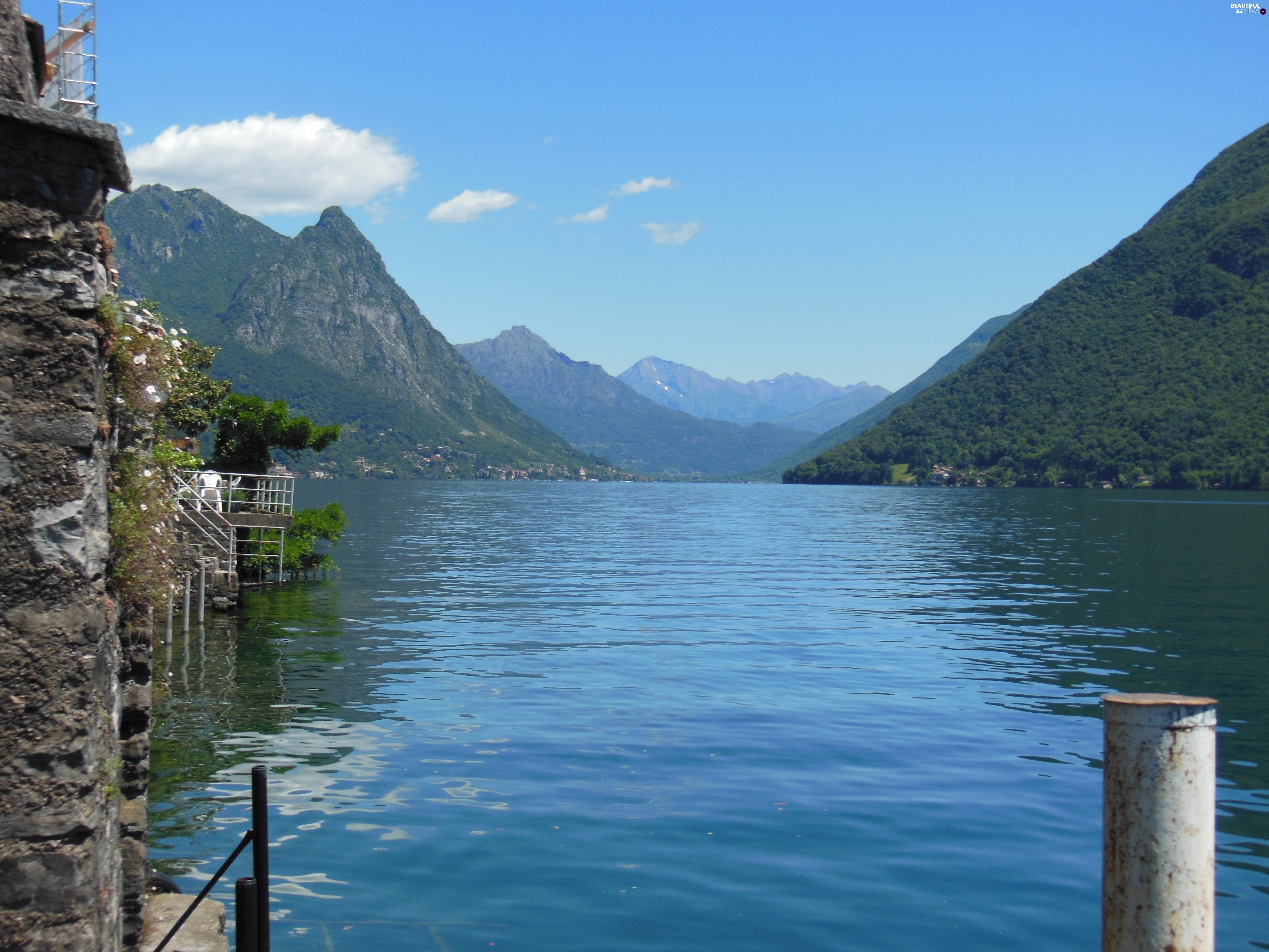 water, Mountains, Lugano, Switzerland, Gandria