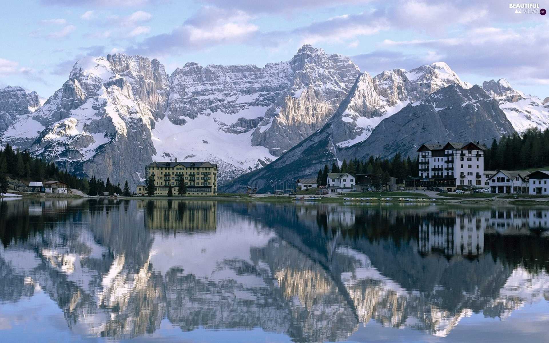 Mountains, buildings, winter, lake