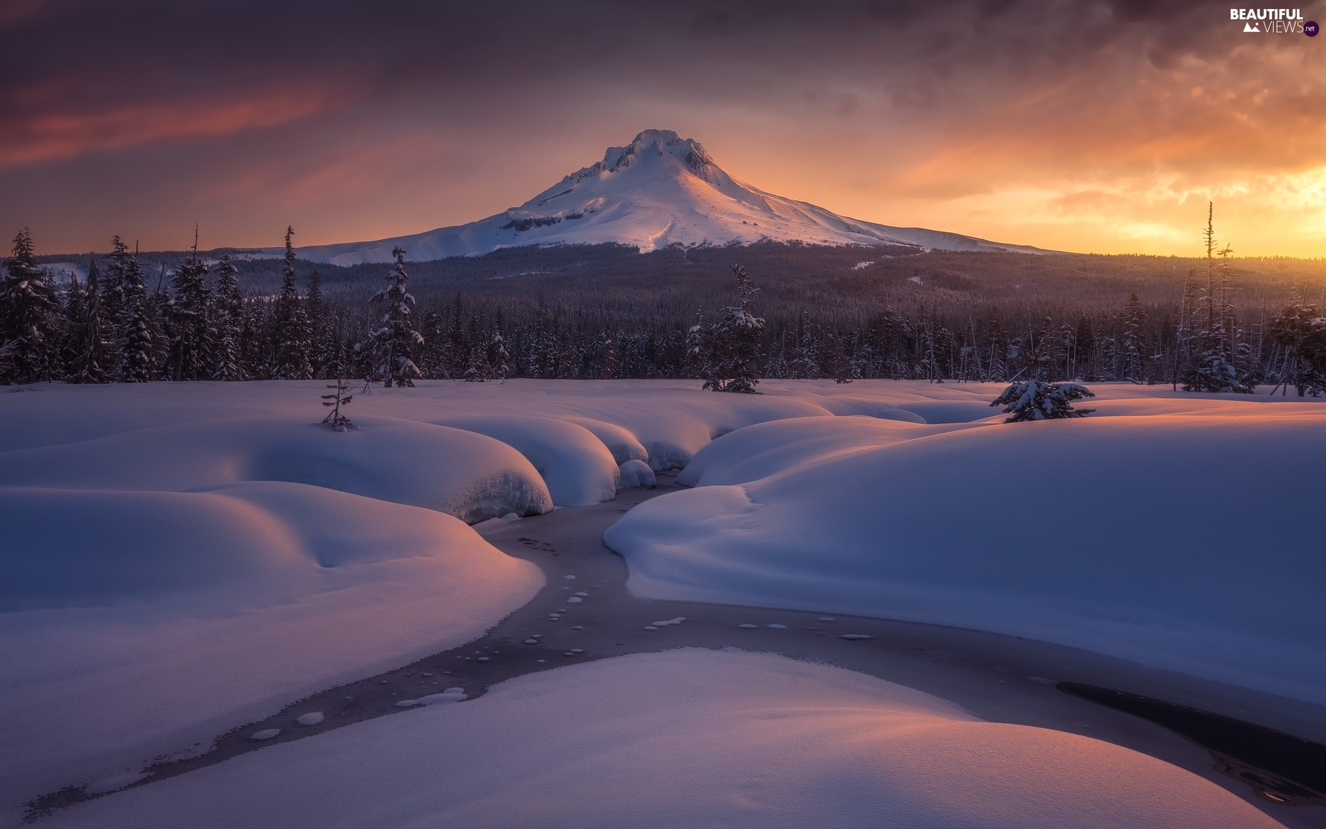 viewes, trees, River, Mount Hood, Stratovolcano, State of Oregon, Snowy, Sunrise, The United States, forest, mountains, winter