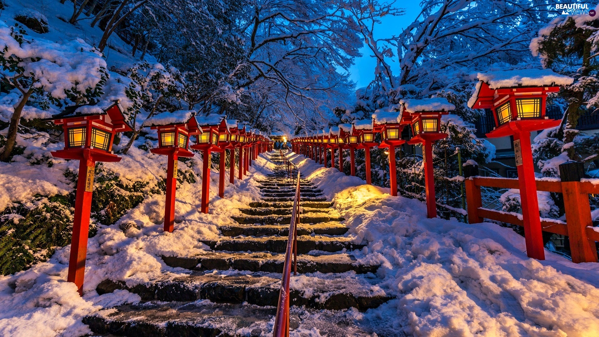 lighting, icy, snow, winter, Lamps, Stairs