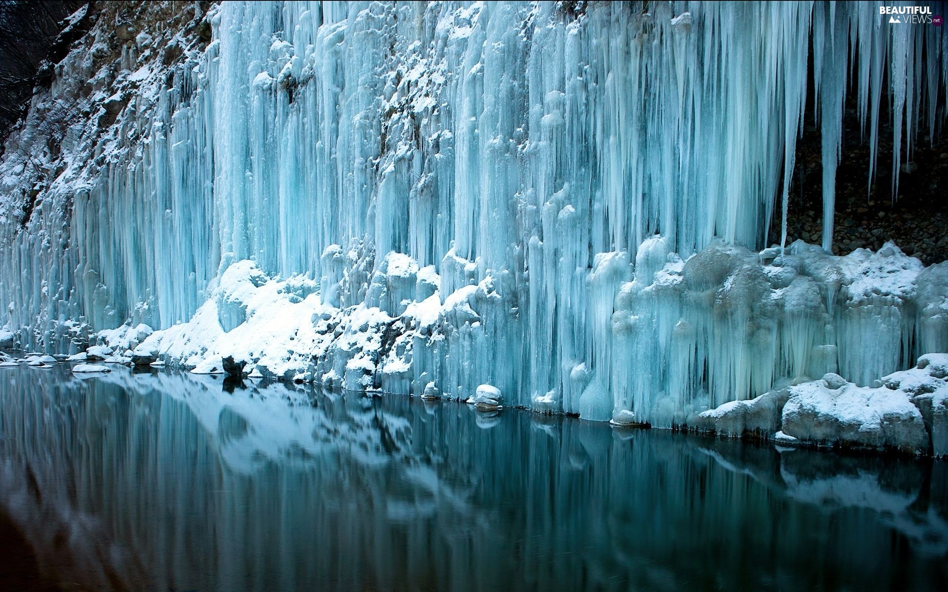 winter, frozen, waterfall