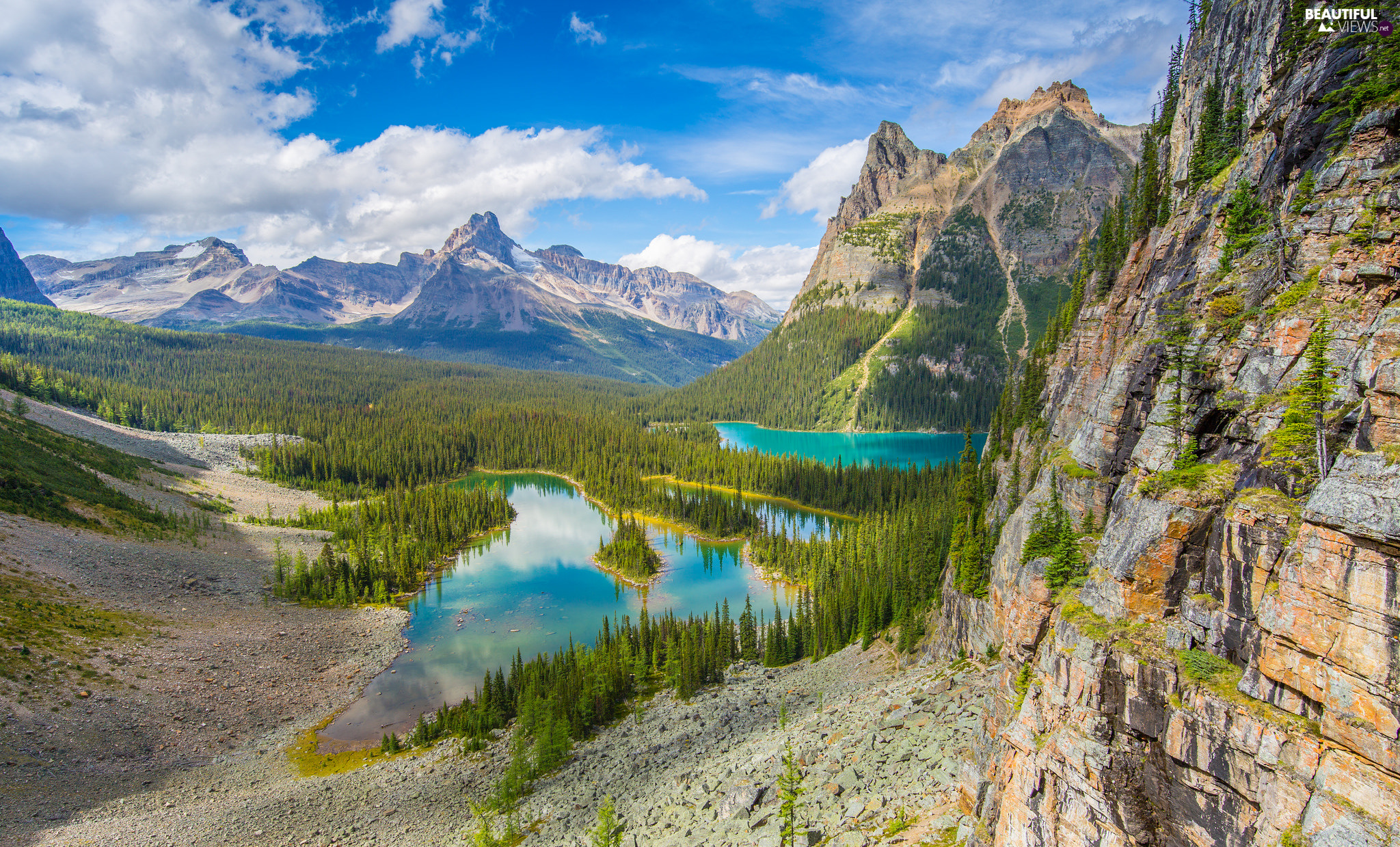Lake O Hara, Province of British Columbia, forest, Yoho National Park, Canada, Mountains, clouds