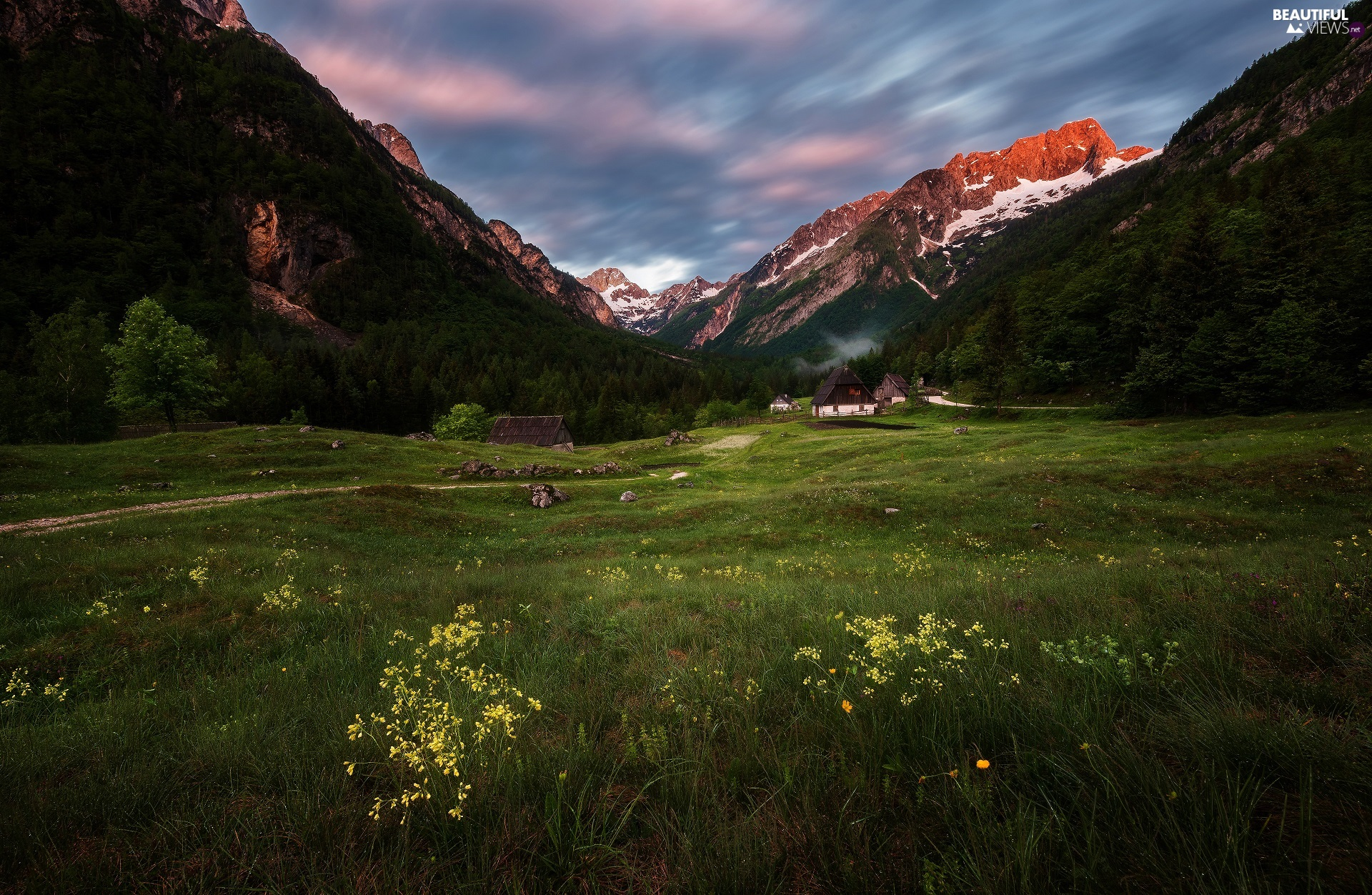 Julian Alps Mountains, Zadnja Trenta Valley, Houses, Slovenia, Triglav National Park, Way, Meadow